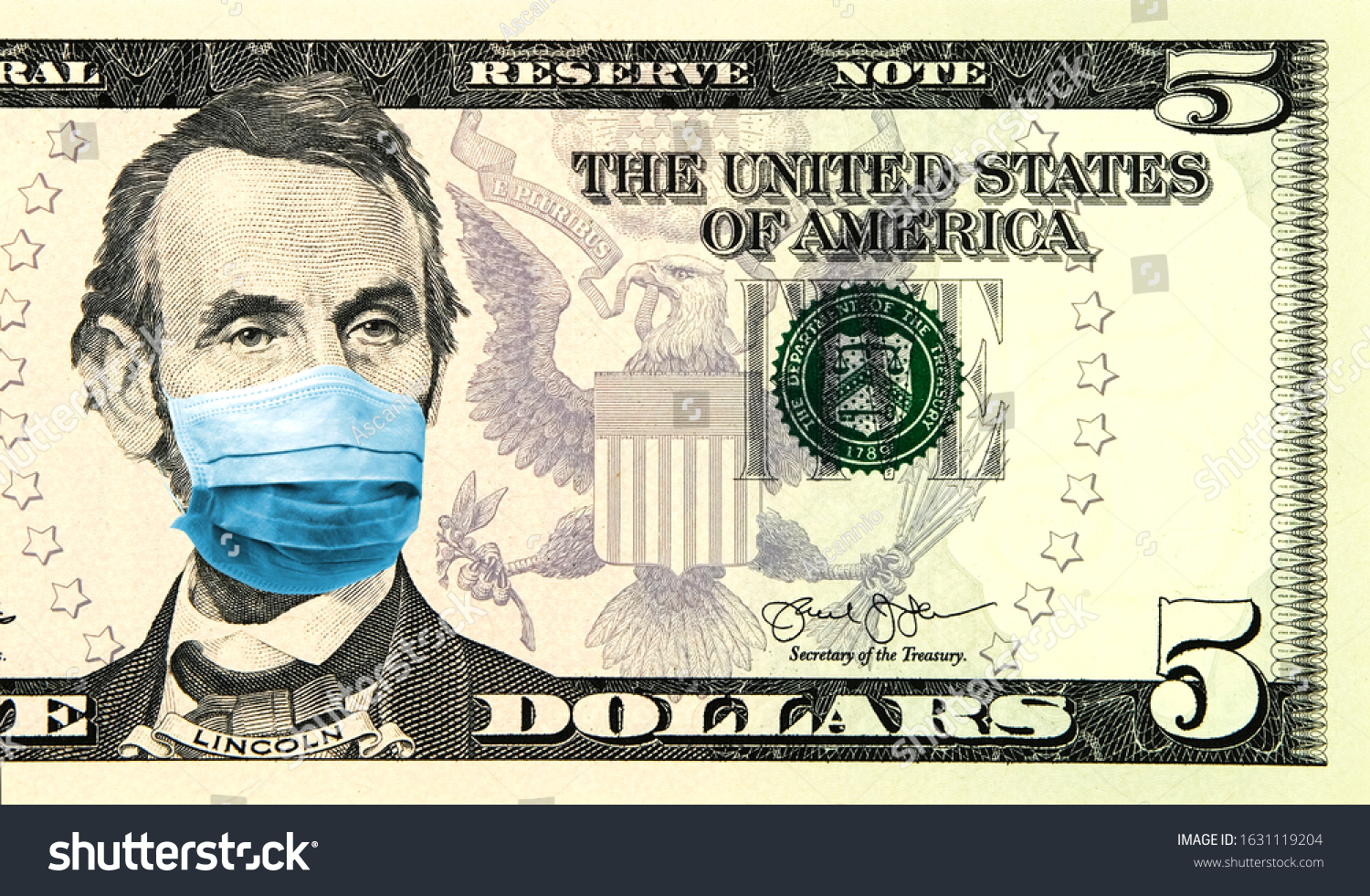 Coronavirus panic in United States. Quarantine and global recession. 5 American dollar banknote with a face mask against infection. Global economy hit by corona virus pandemic. Montage. Concept #1631119204