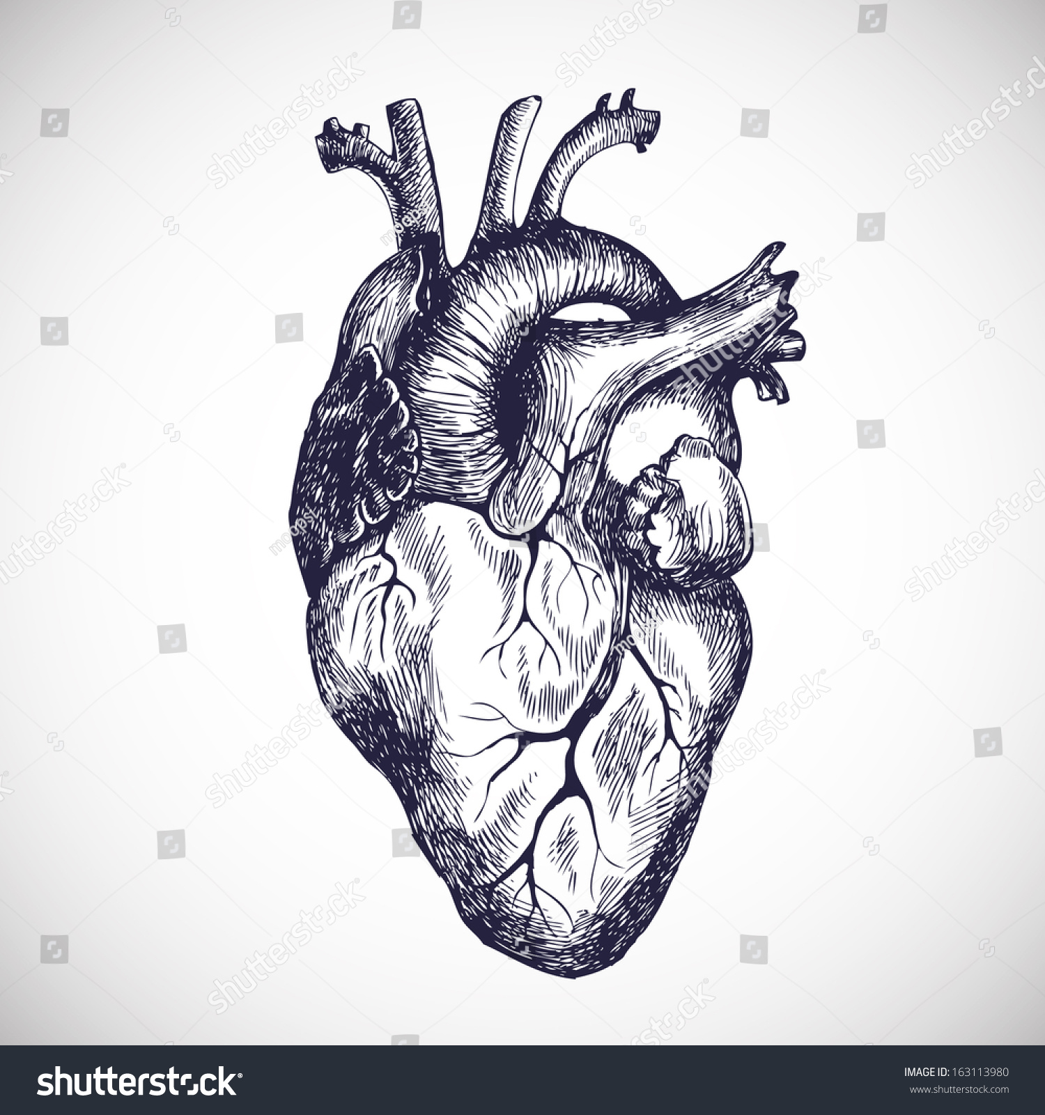 Human heart with arrow tattoo etching  Illustrations