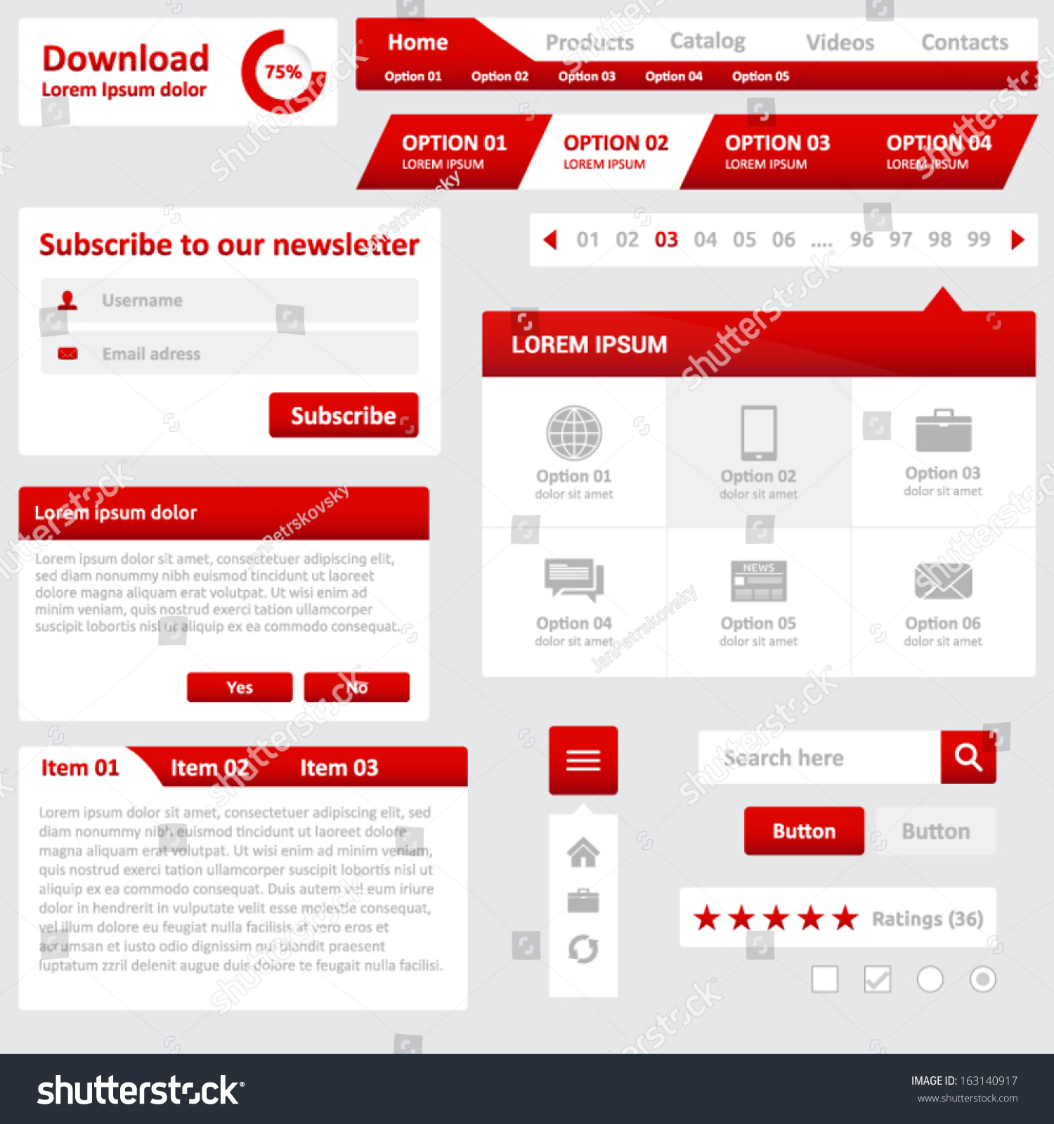 Website Elements Design Template Your Web Stock Vector Royalty Free