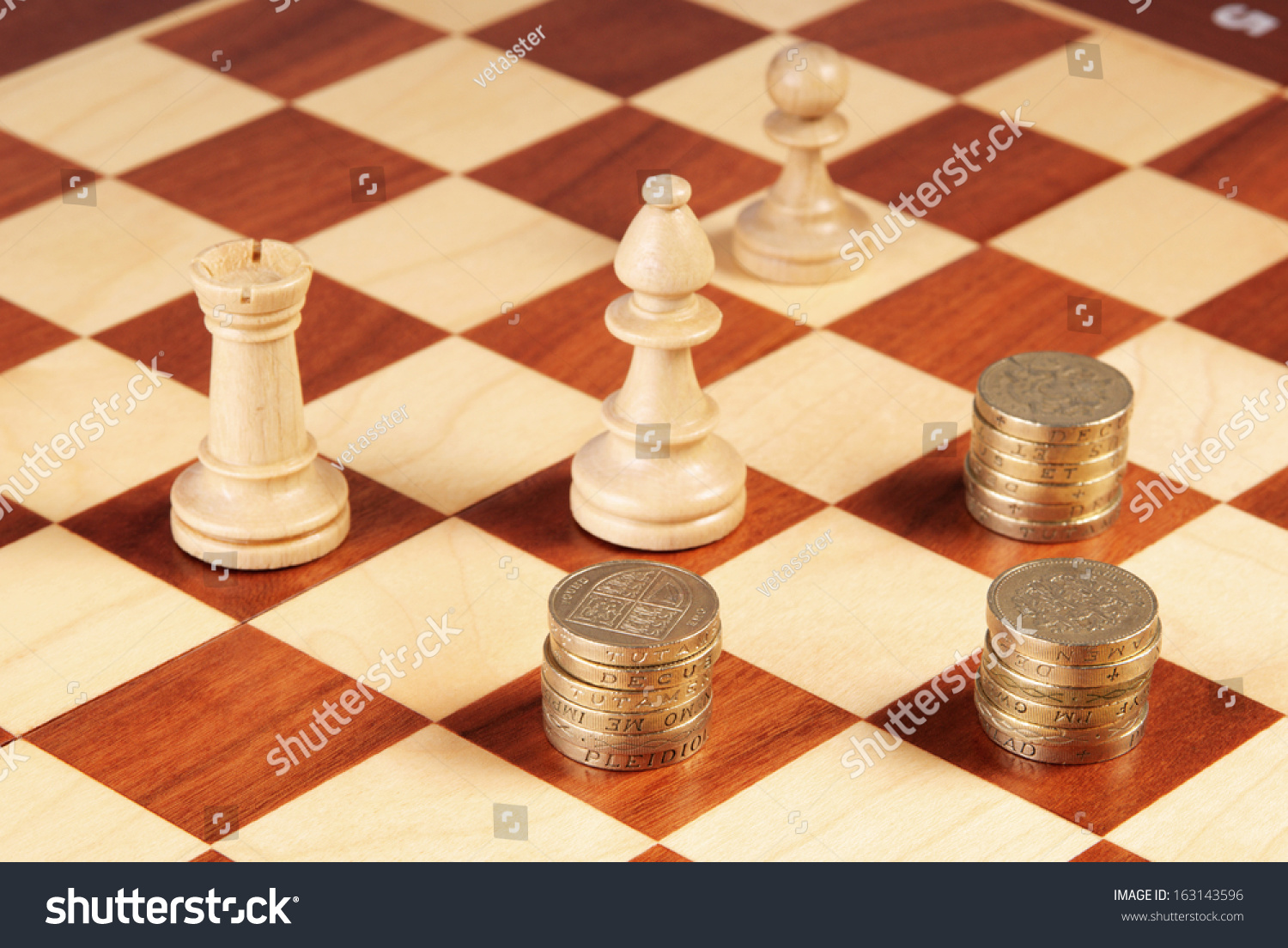 Stacks British Pounds Coins Chess Pieces Stock Photo Edit Now