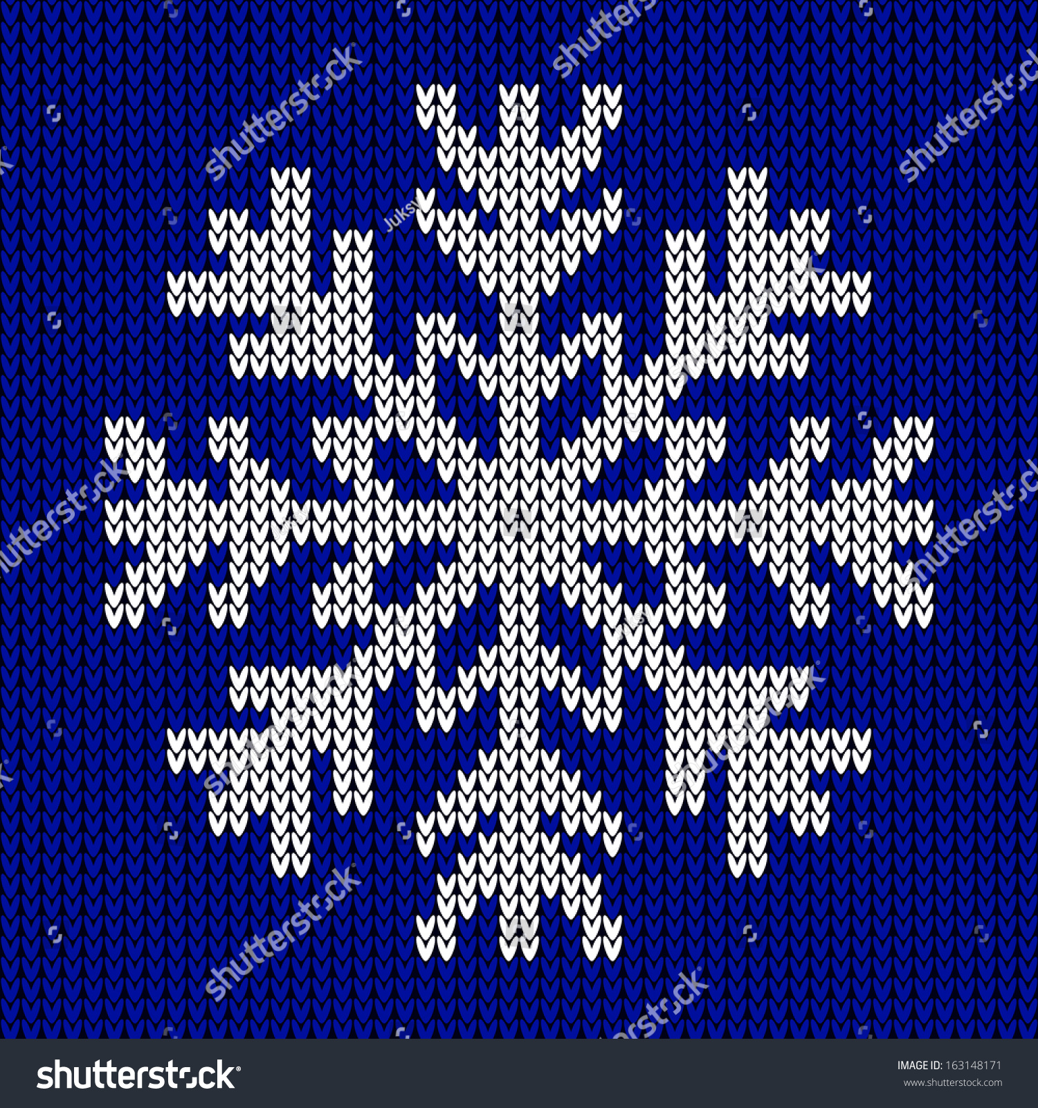 Snowflake Christmas Knitted Ornament On Blue Stock Vector (Royalty ...