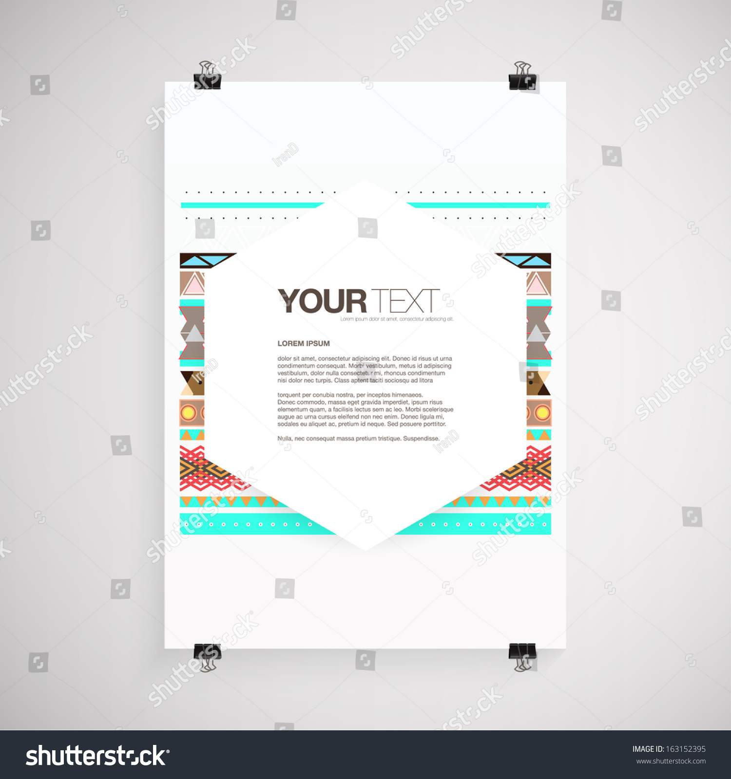 Poster design eps - Abstract A4 A3 Poster Design With Your Text And Aztec Style Pattern Background Eps 10