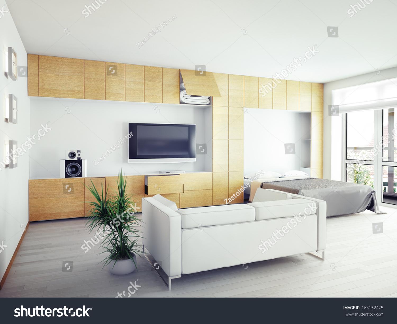 Modern Interior Design Computer Generated Image Stock Illustration ...