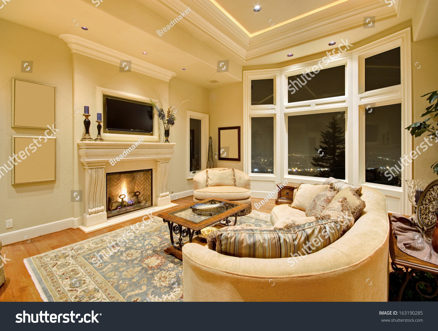 Beautiful Living Room Fireplace Upscale Home Stock Photo