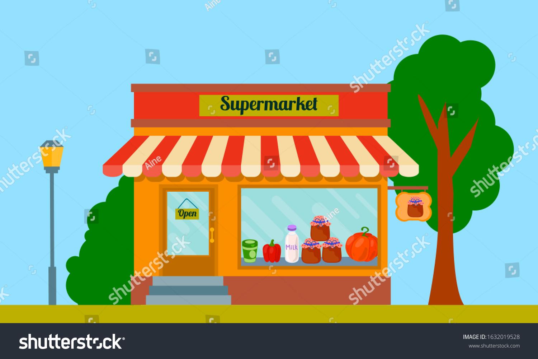 Cartoon Supermarket Facade Building Street View Stock Vector Royalty Free 1632019528