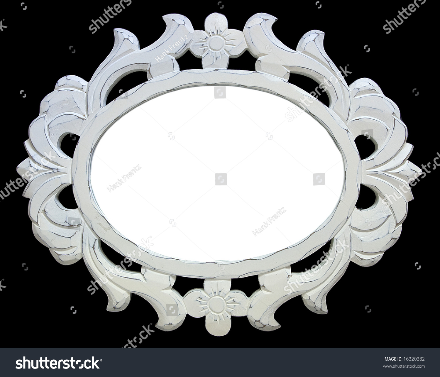 ornate oval vintage white frame on black background preview save to a lightbox