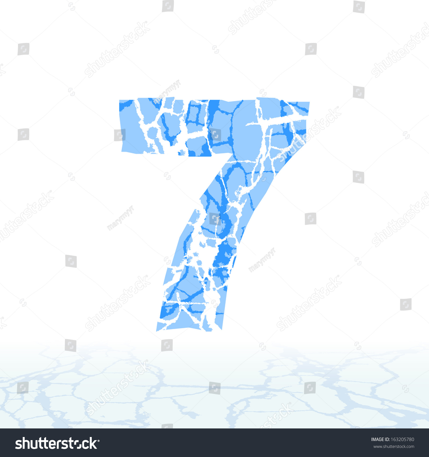 cracked ice alphabet letters numbers symbols stock vector