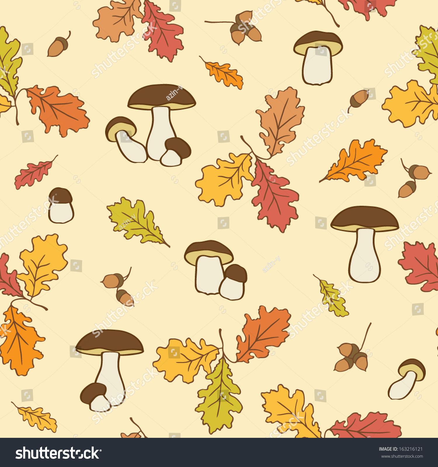 seamless pattern oak leaves acorns mushroom stock vector 163216121
