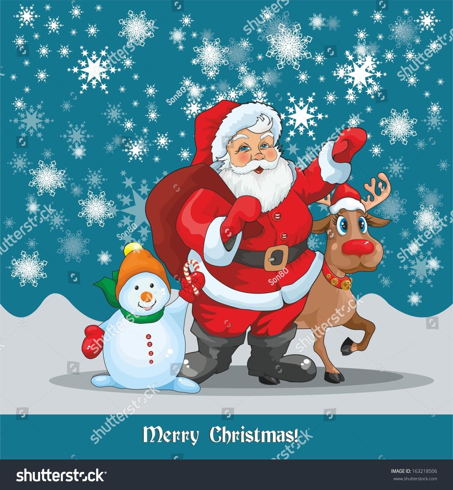 blue christmas card with santa reindeer and snowman - Santa And Snowman
