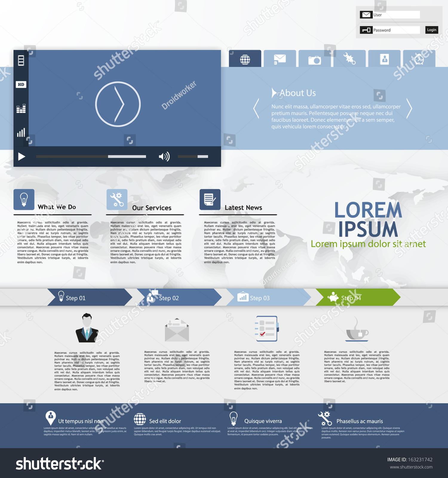 business website template home page design stock vector 163231742 shutterstock. Black Bedroom Furniture Sets. Home Design Ideas