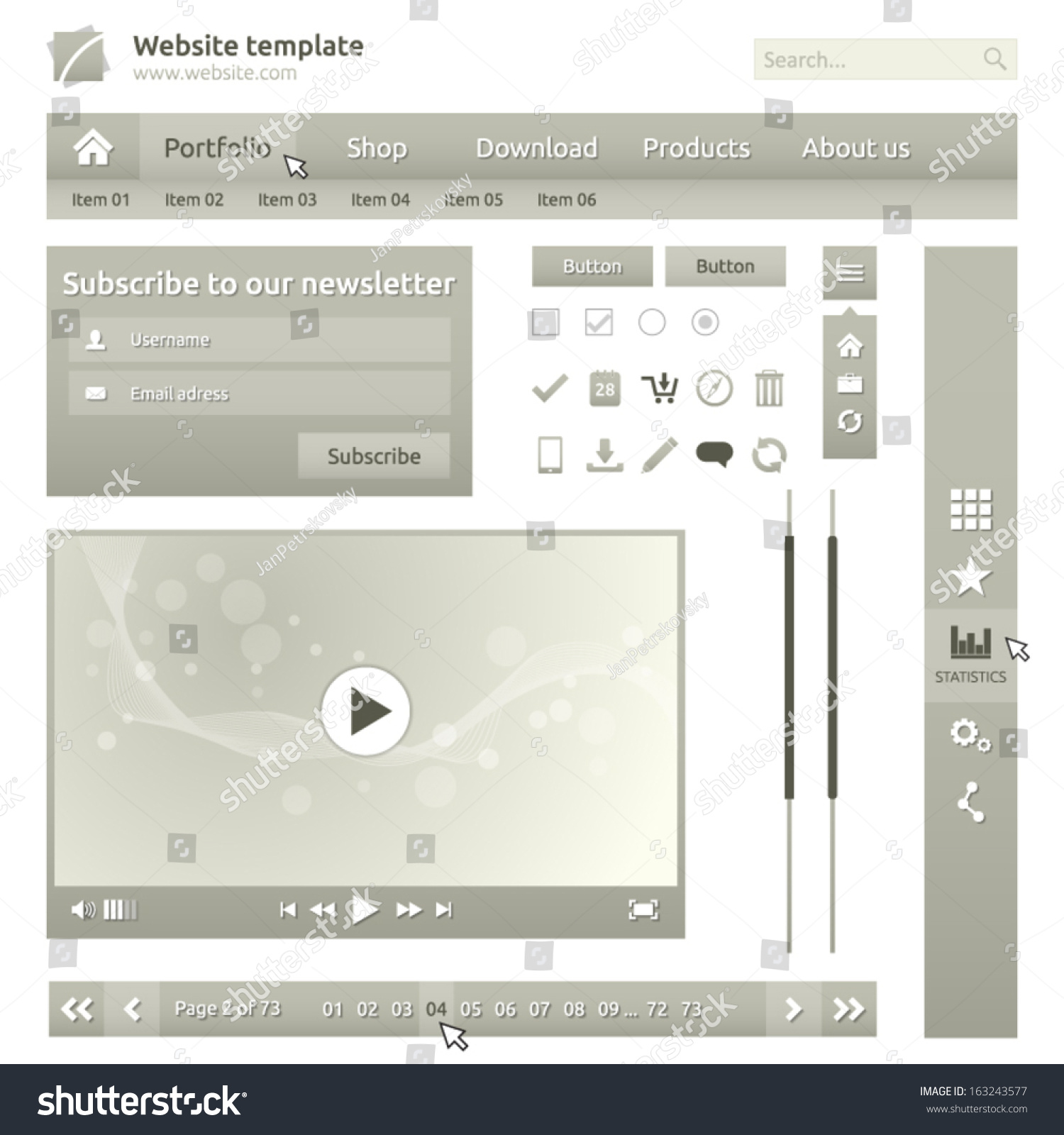 Website Elements Design Template For Your Web Page Video Player