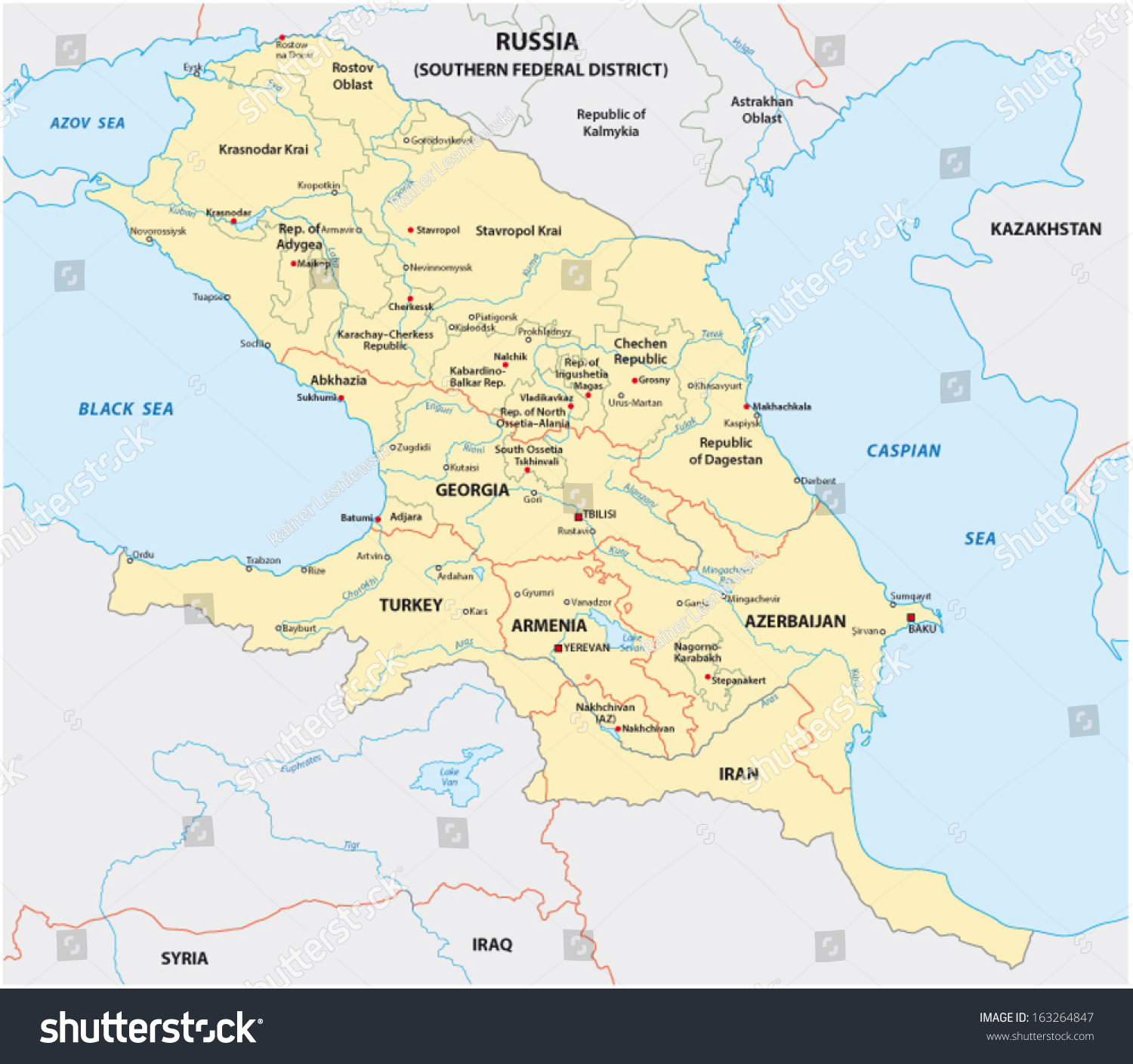 caucasus caucasia map stock vector royalty free 163264847