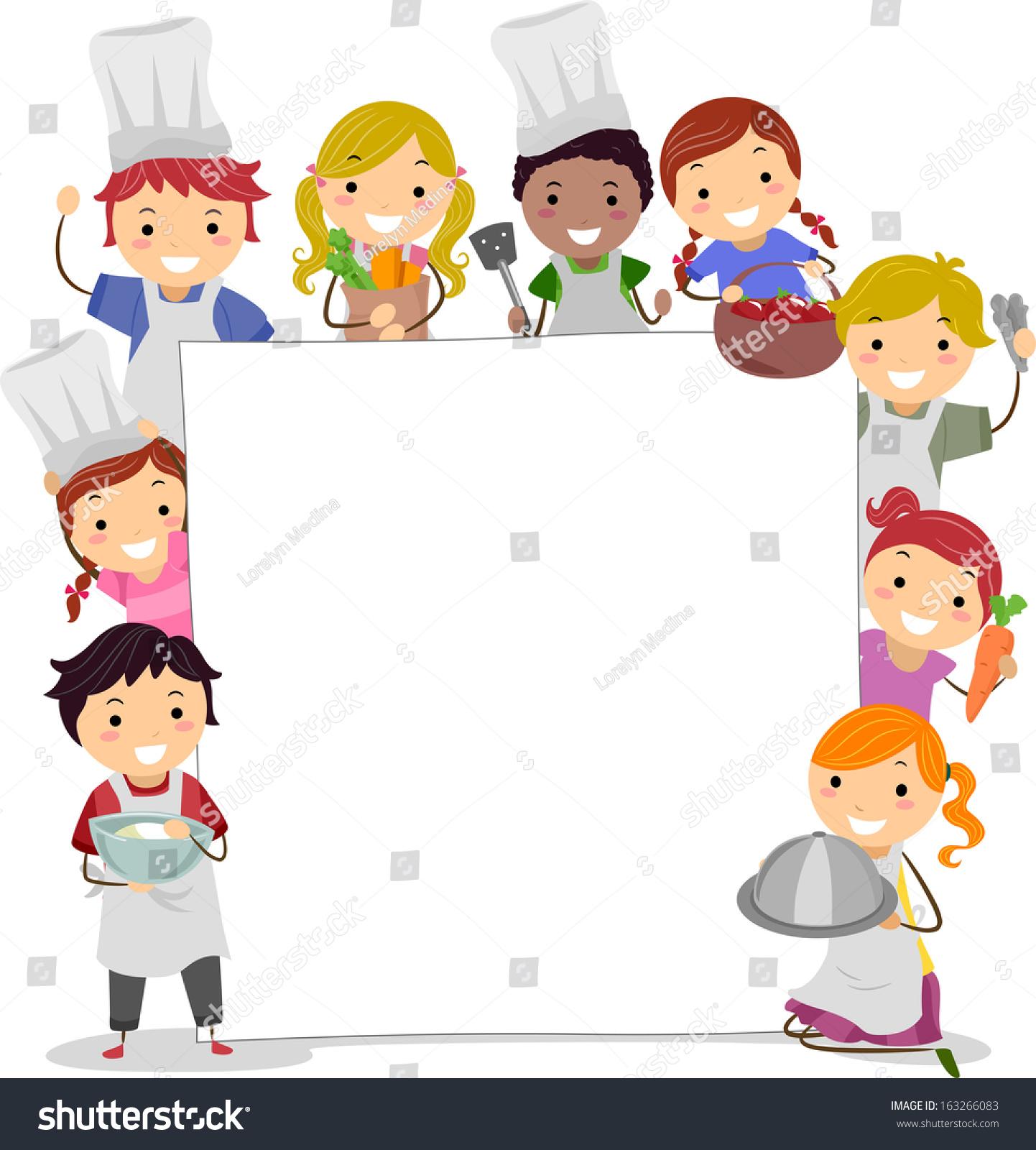Illustration Kids Holding Cooking Utensils Surrounding ...