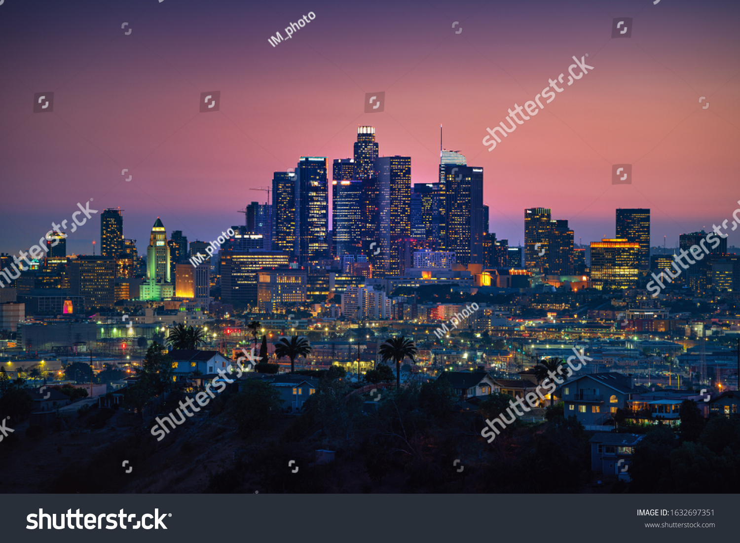 Los Angeles downtown silhouette at sunset. LAX most famous city of california. Typical view of the Los Angeles. #1632697351