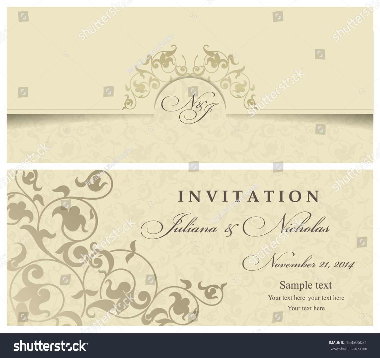 Wedding Invitation Cards Baroque Style Gold Stock Vector 163306031 ...