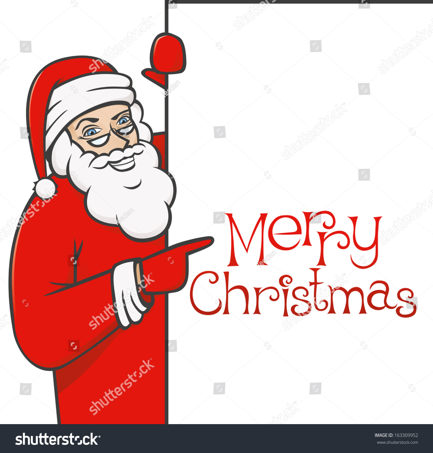 santa claus holding blank sign showing stock illustration 163309952