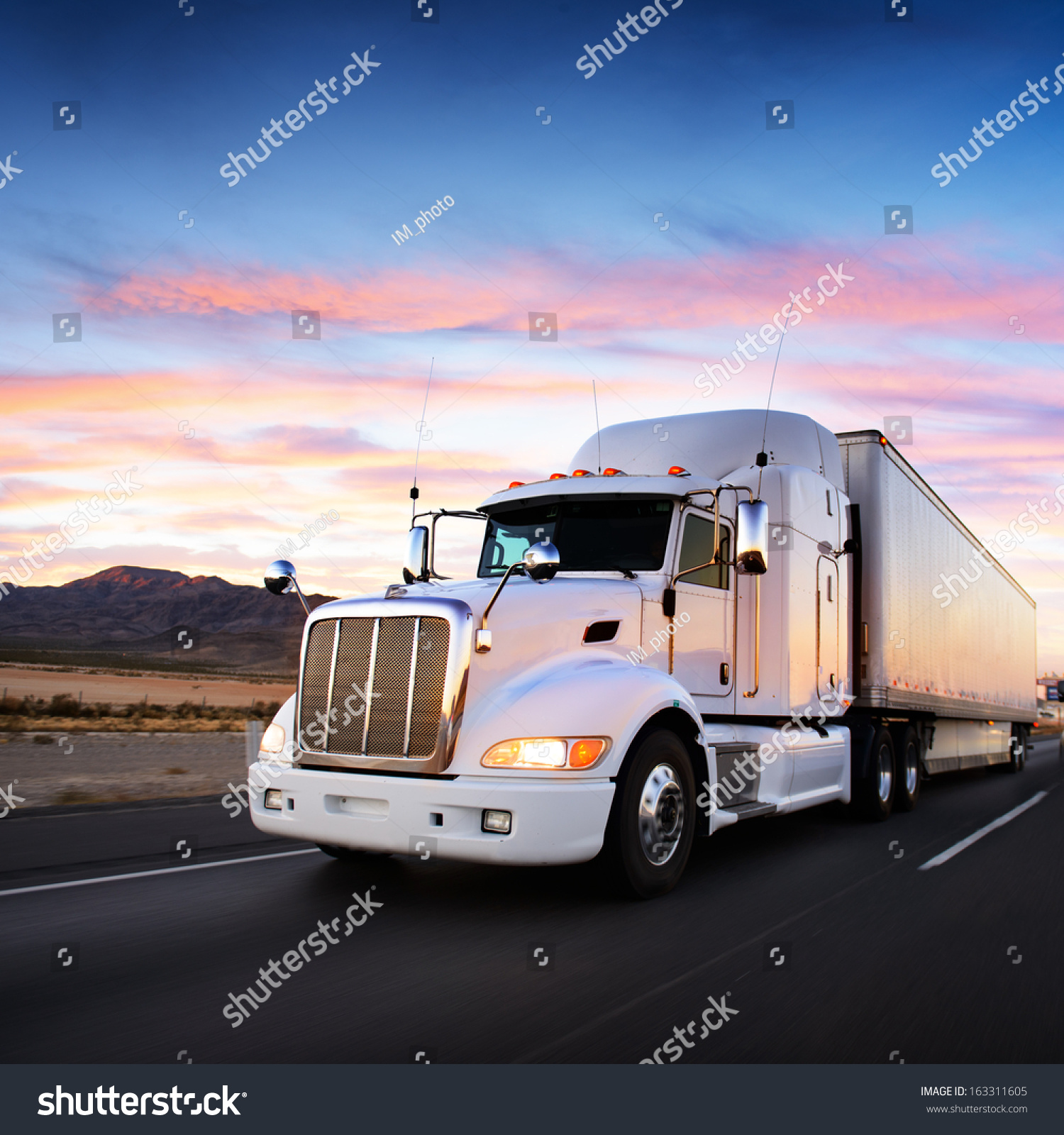 Truck And Highway At Sunset - Transportation Background ...
