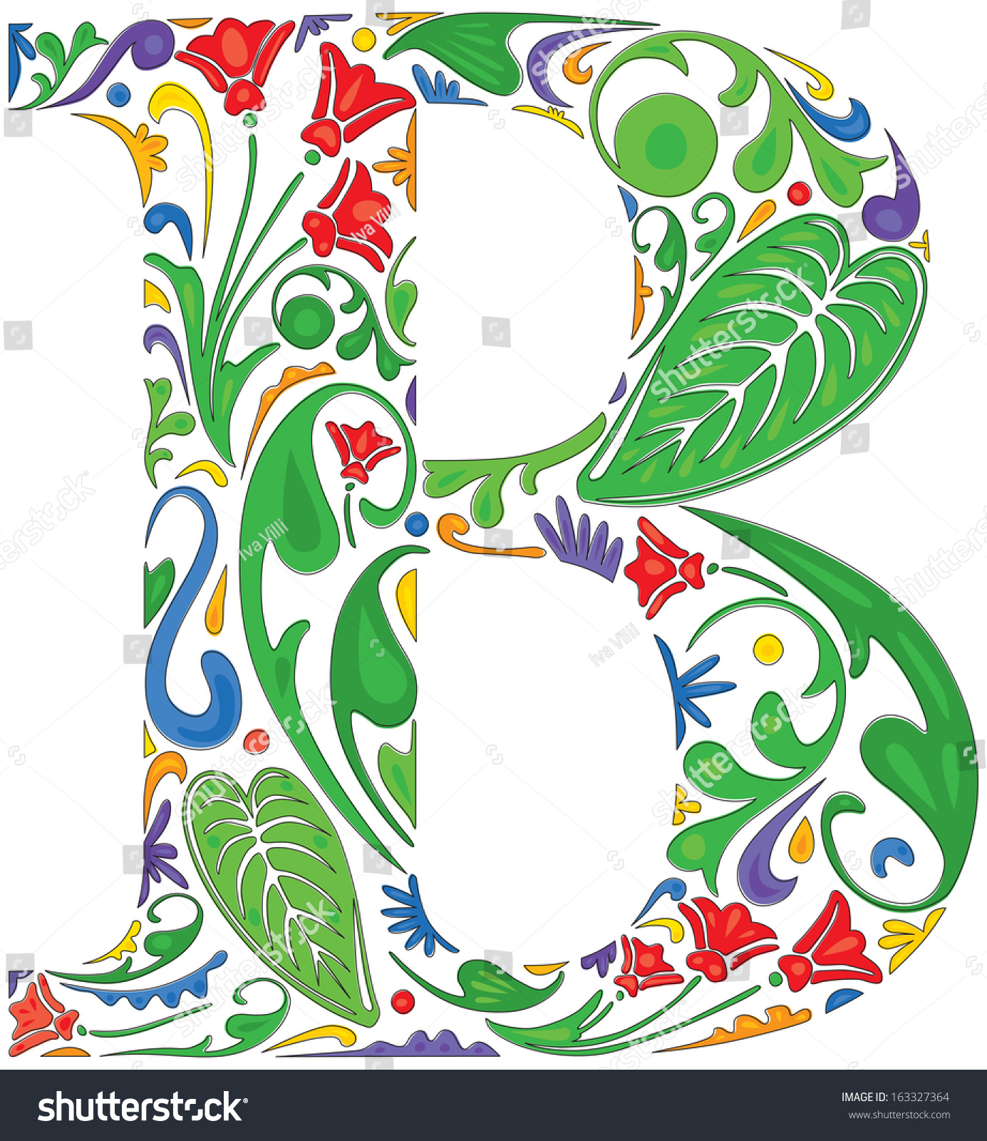 Colorful Floral Initial Capital Letter B Stock Vector (Royalty Free ...