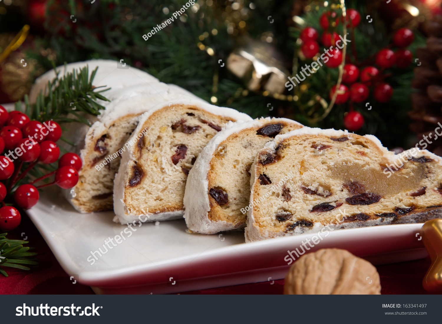 Traditional German Christmas Cake Cranberry Stollen Stock Photo ...