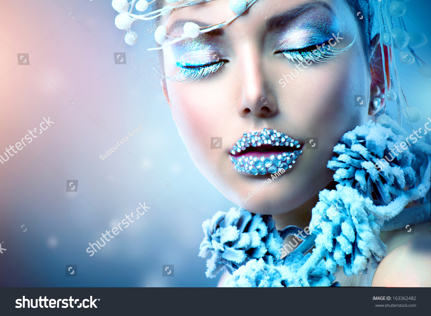 Winter Beauty Woman Christmas Girl Makeup Holiday Make Up Snow Queen High