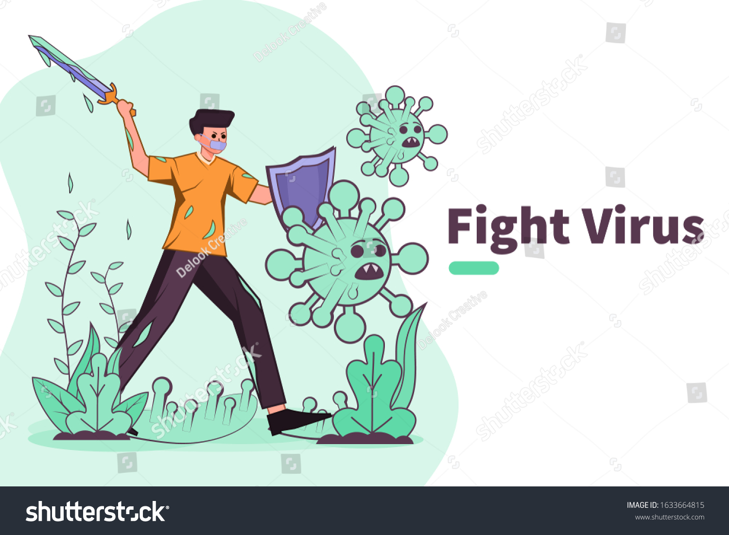 Vector Illustration Fight Against Covid19 Virus Stock Vector Royalty Free 1633664815