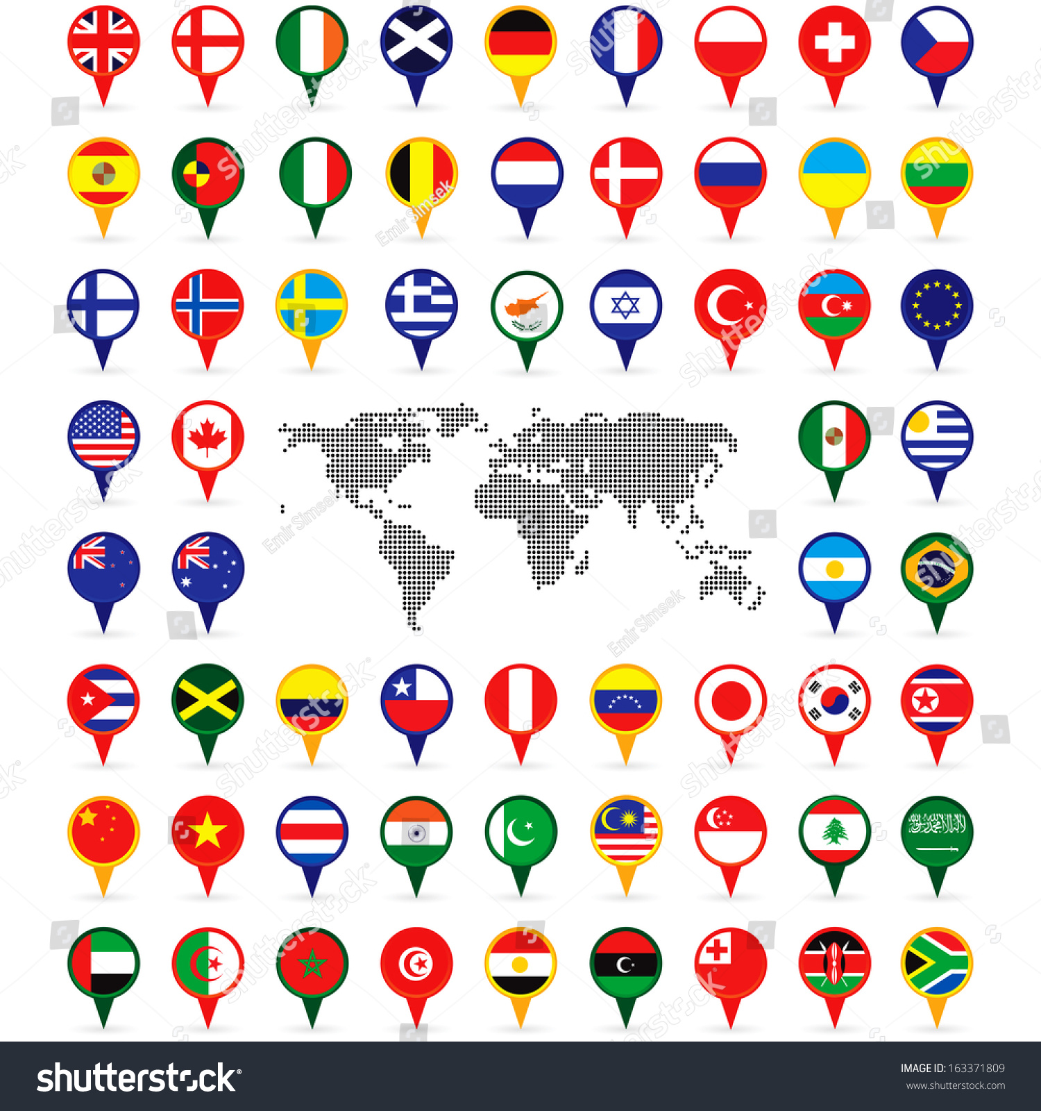 world flags on map pins stock vector royalty free 163371809
