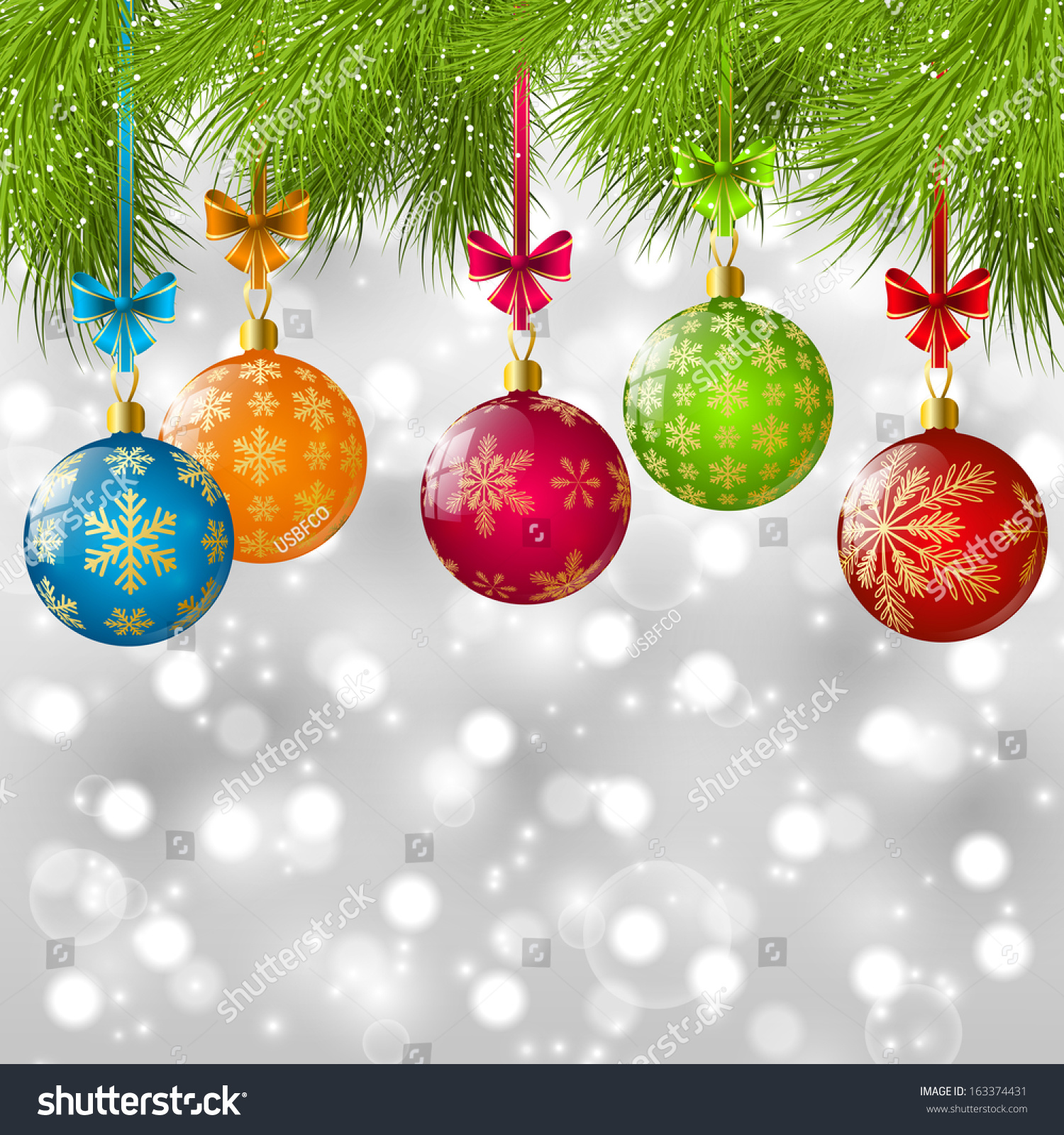 Christmas tree branches color balls stock vector