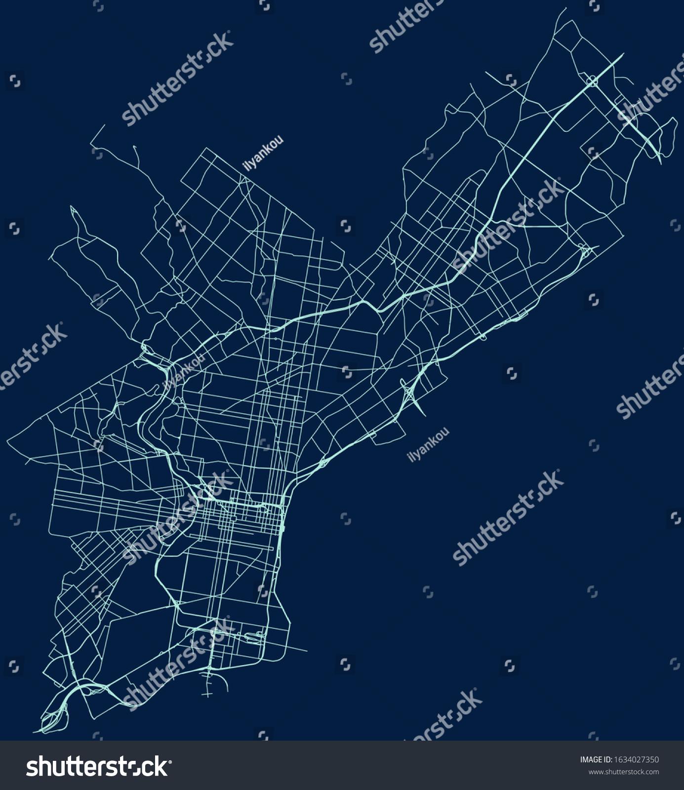 Image of: Vector De Stock Libre De Regalias Sobre Road Map Philadelphia Pennsylvania Usa1634027350
