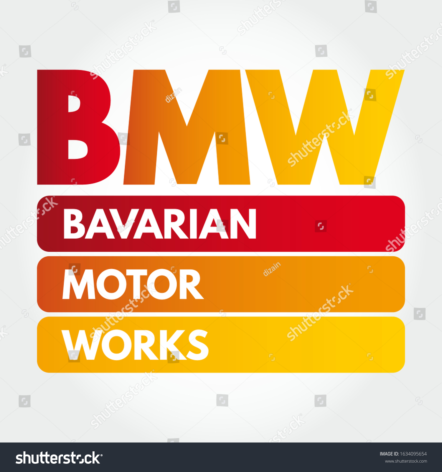 Bmw Bavarian Motor Works Acronym Concept Stock Vector Royalty Free 1634095654