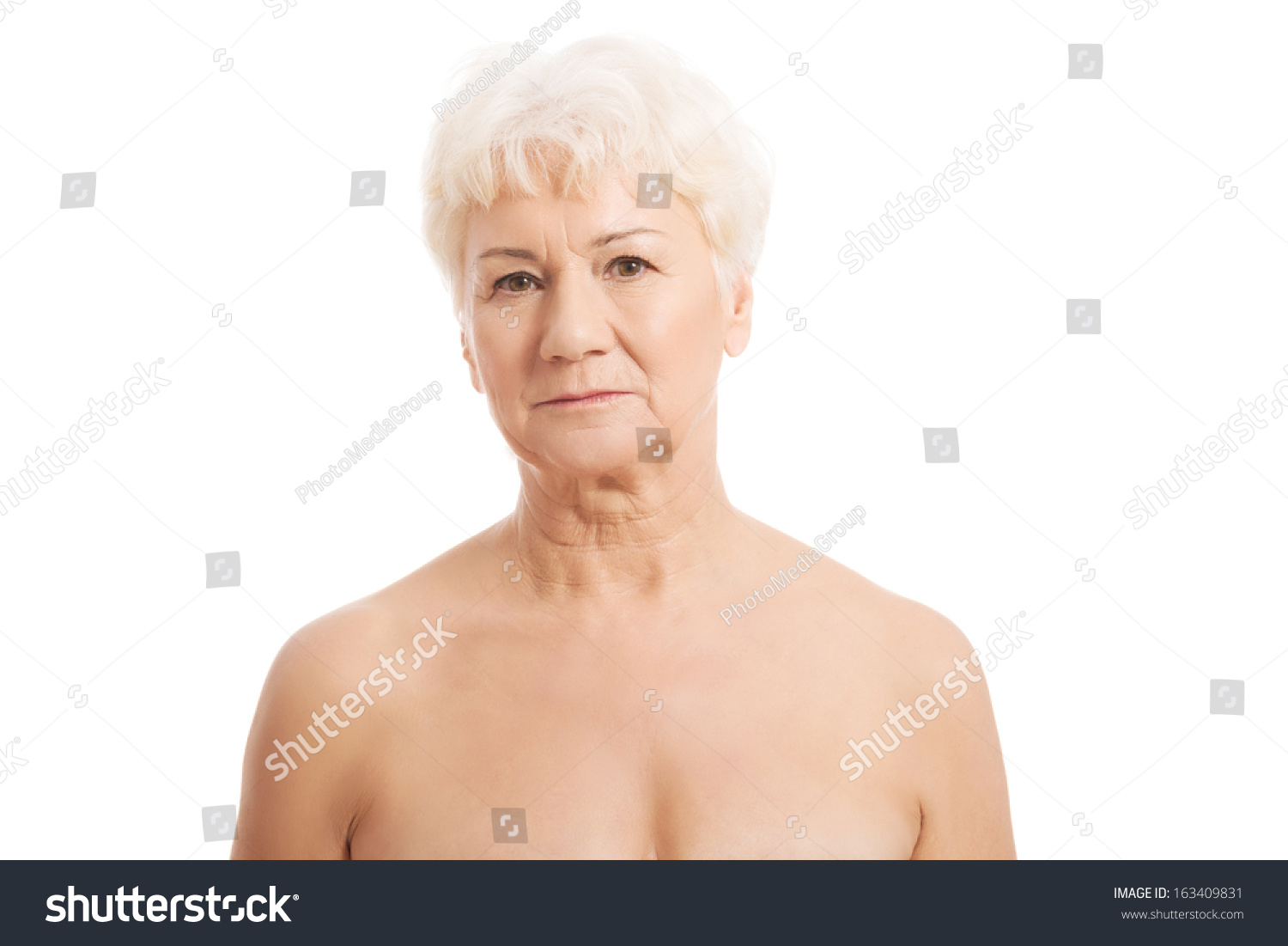 Portrait Of Nude Old Woman Head And Shoulders Isolated On White