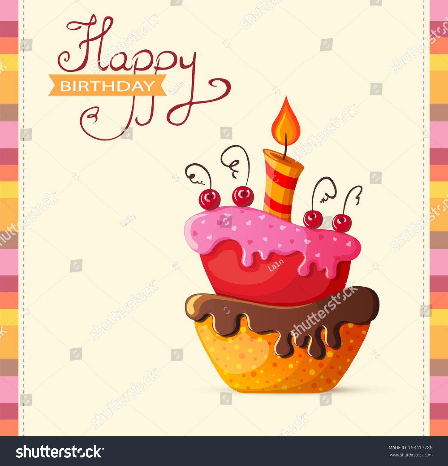 Birthday Card Cake Illustration Stock Vector 163417286 Shutterstock