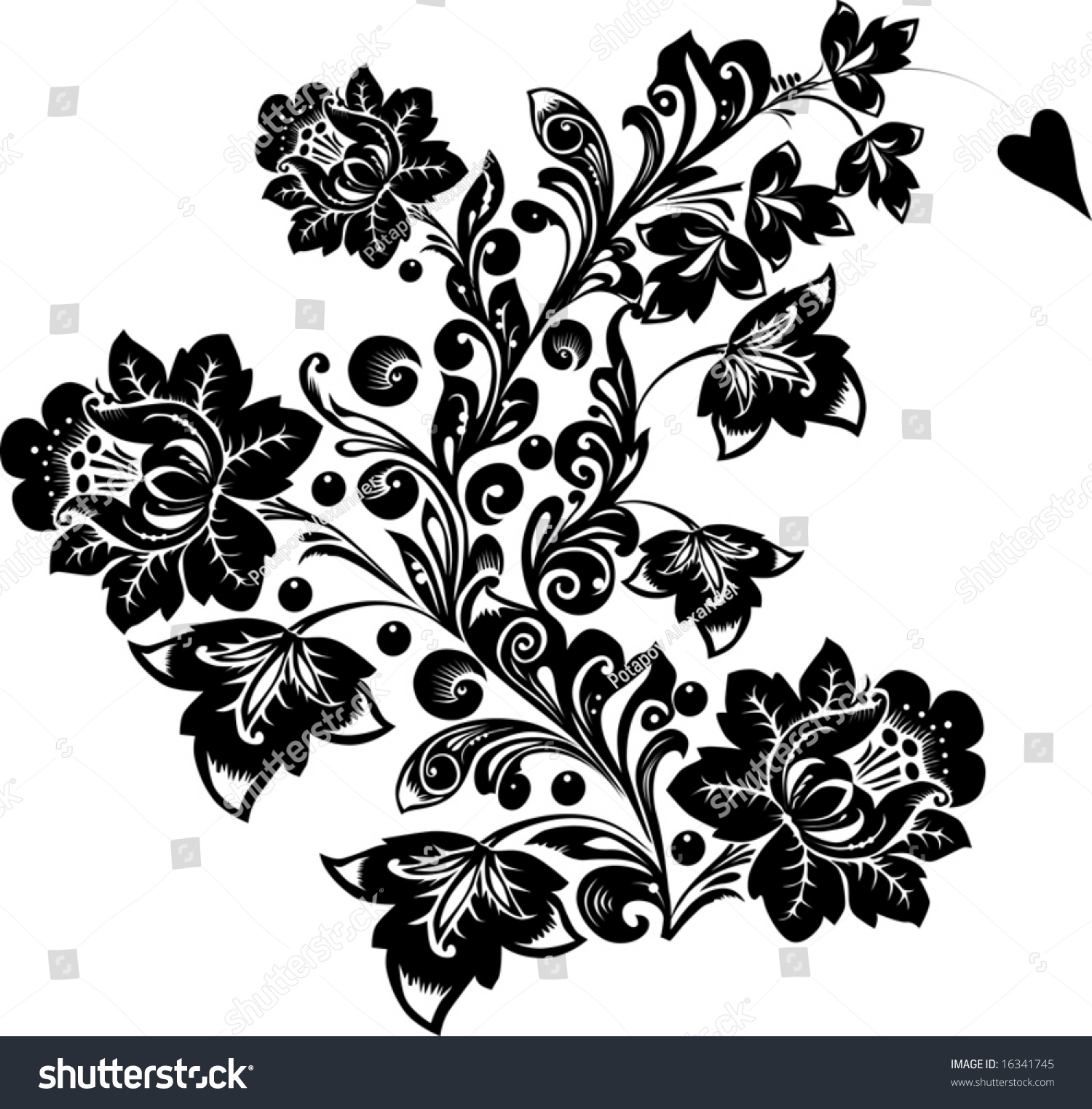 Illustration Black Flower On White Background Stock Vector Royalty