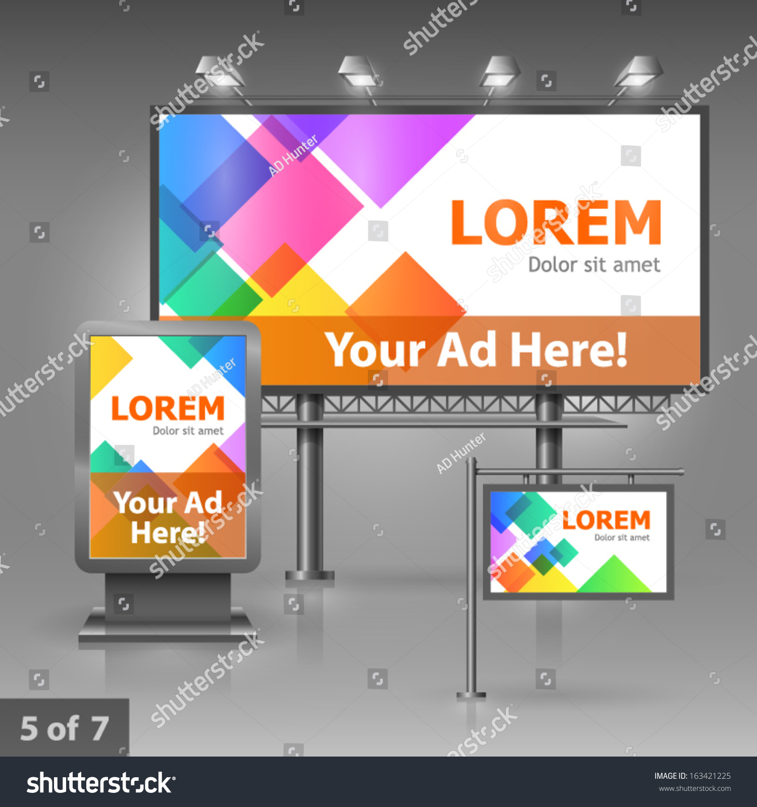 Outdoor Advertising Design Company Color Square Stock Vector ...