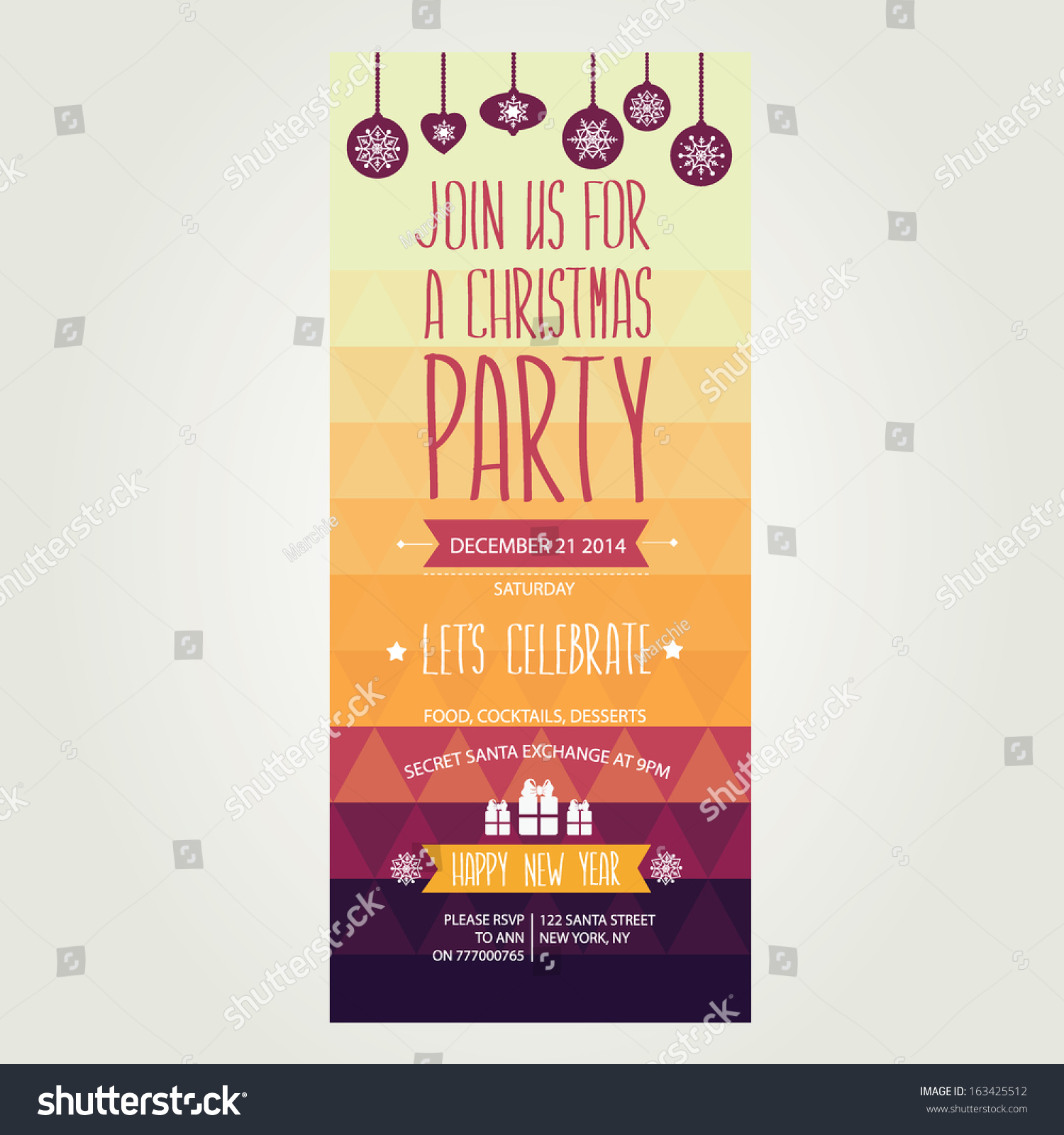Vector Christmas Party Invitation Toys Holiday Stock Vector ...