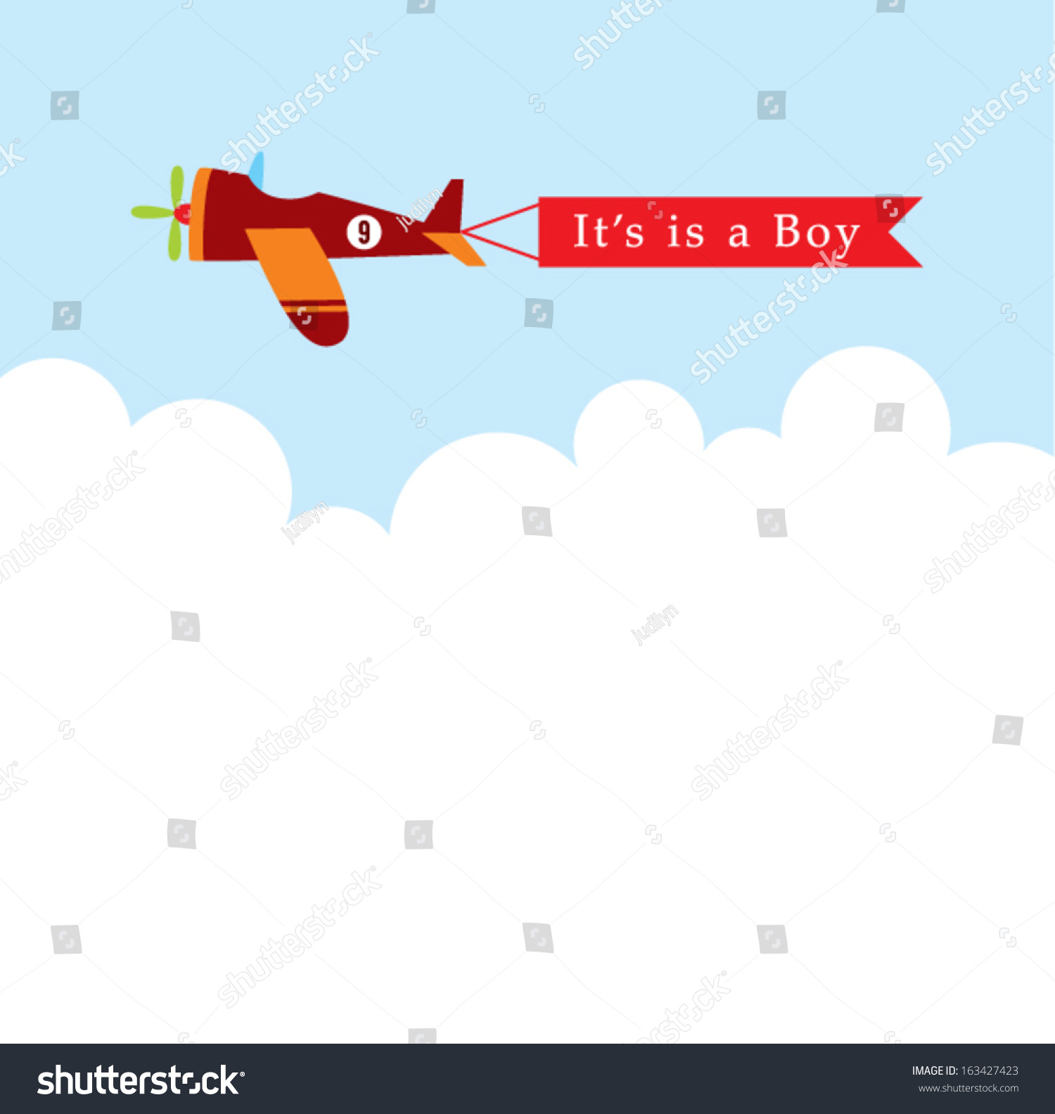 airplane baby boy announcement message stock vector royalty free