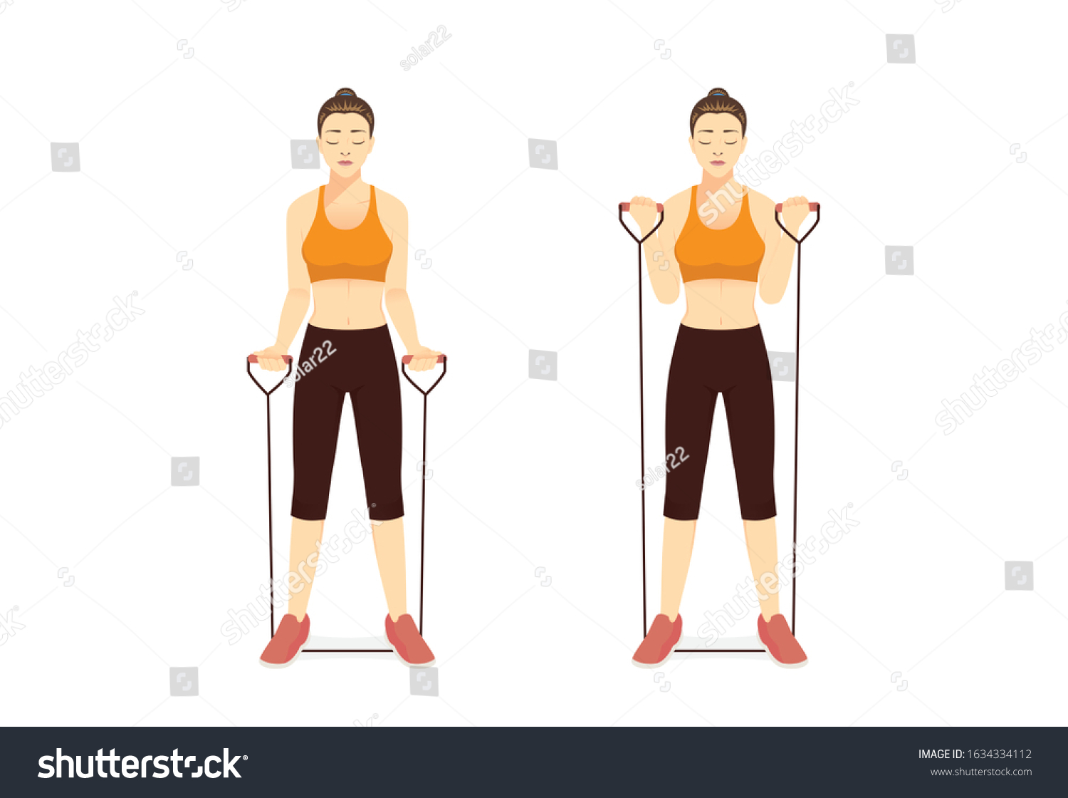 Woman Using Equipment Exercise Resistance Band Stock Vector