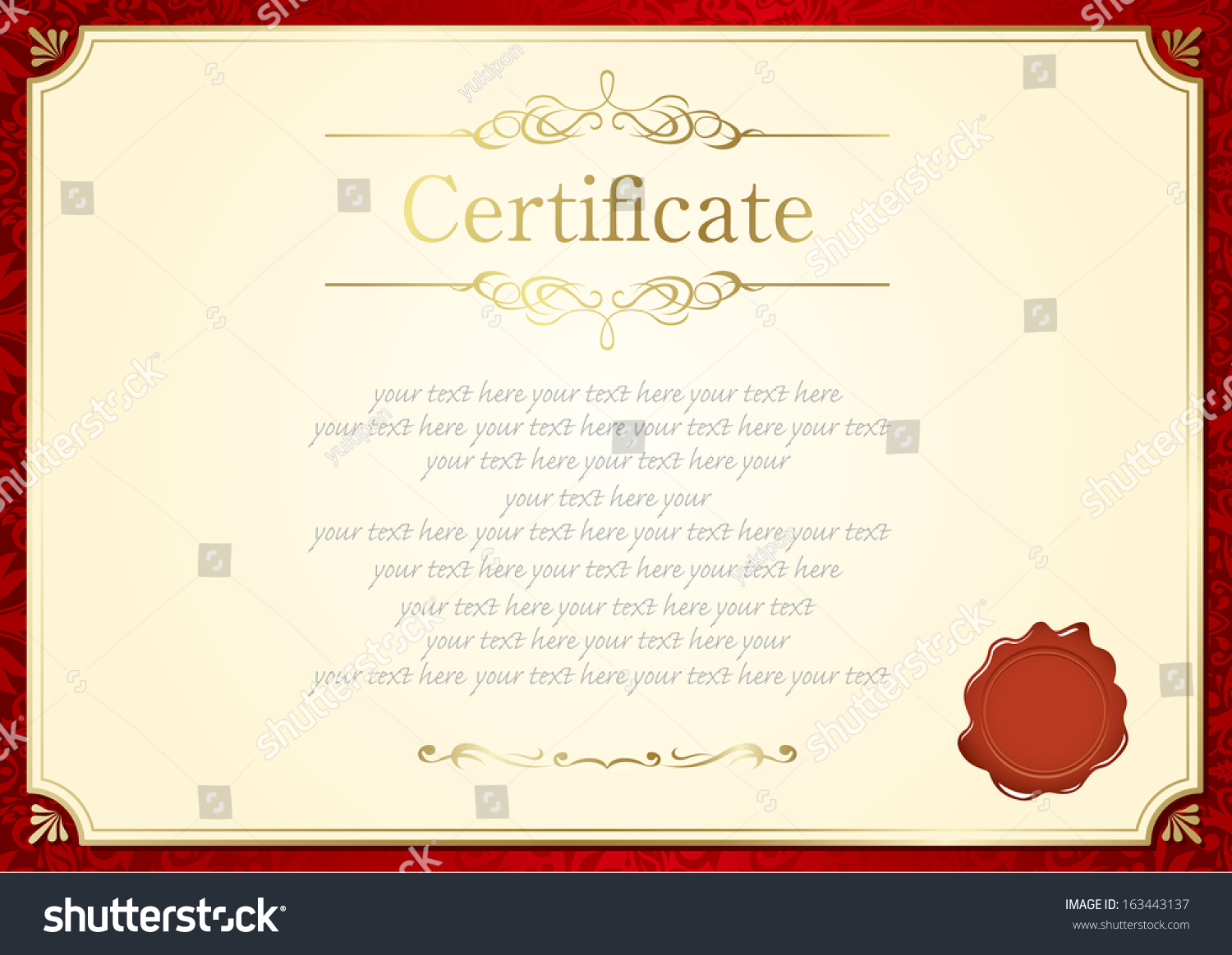 retro frame certificate template vector stock vector 163443137 retro frame certificate template vector