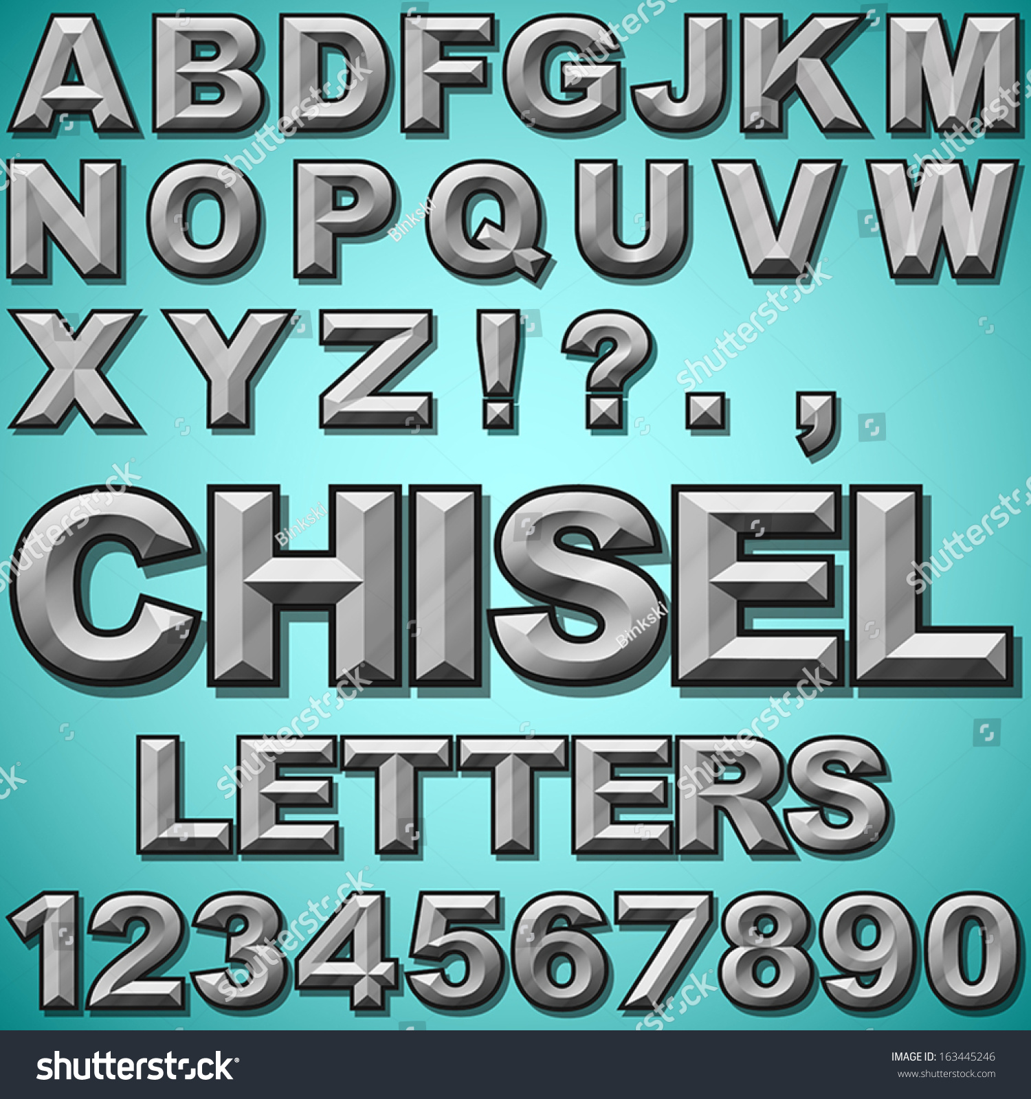 Alphabet Set Chiseled Block Letters Numbers Stock Vector Royalty