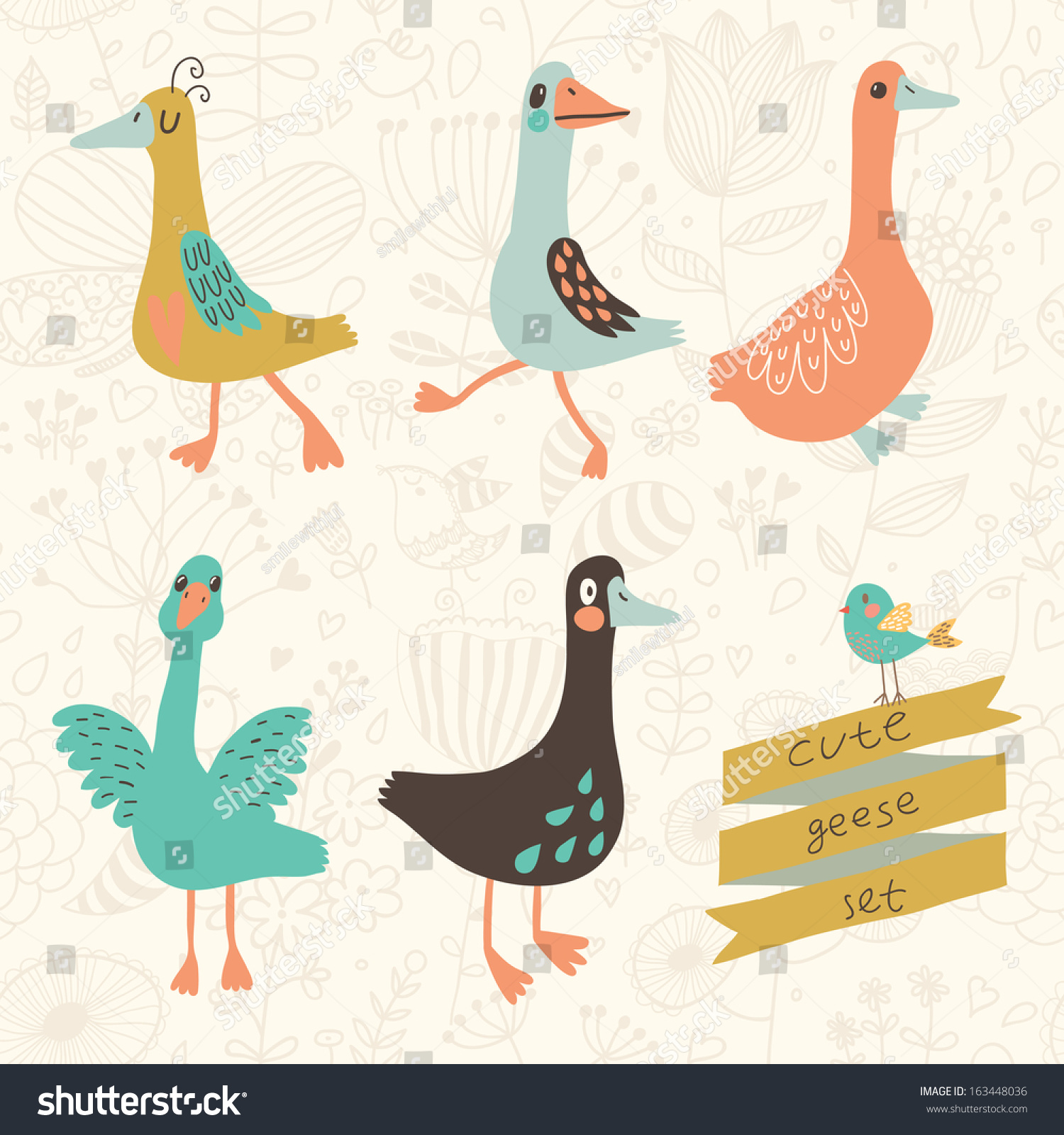 Can I Put Wallpaper On Top Of Wallpaper: Five Cute Geese Vector Set Cartoon Stock Vector 163448036