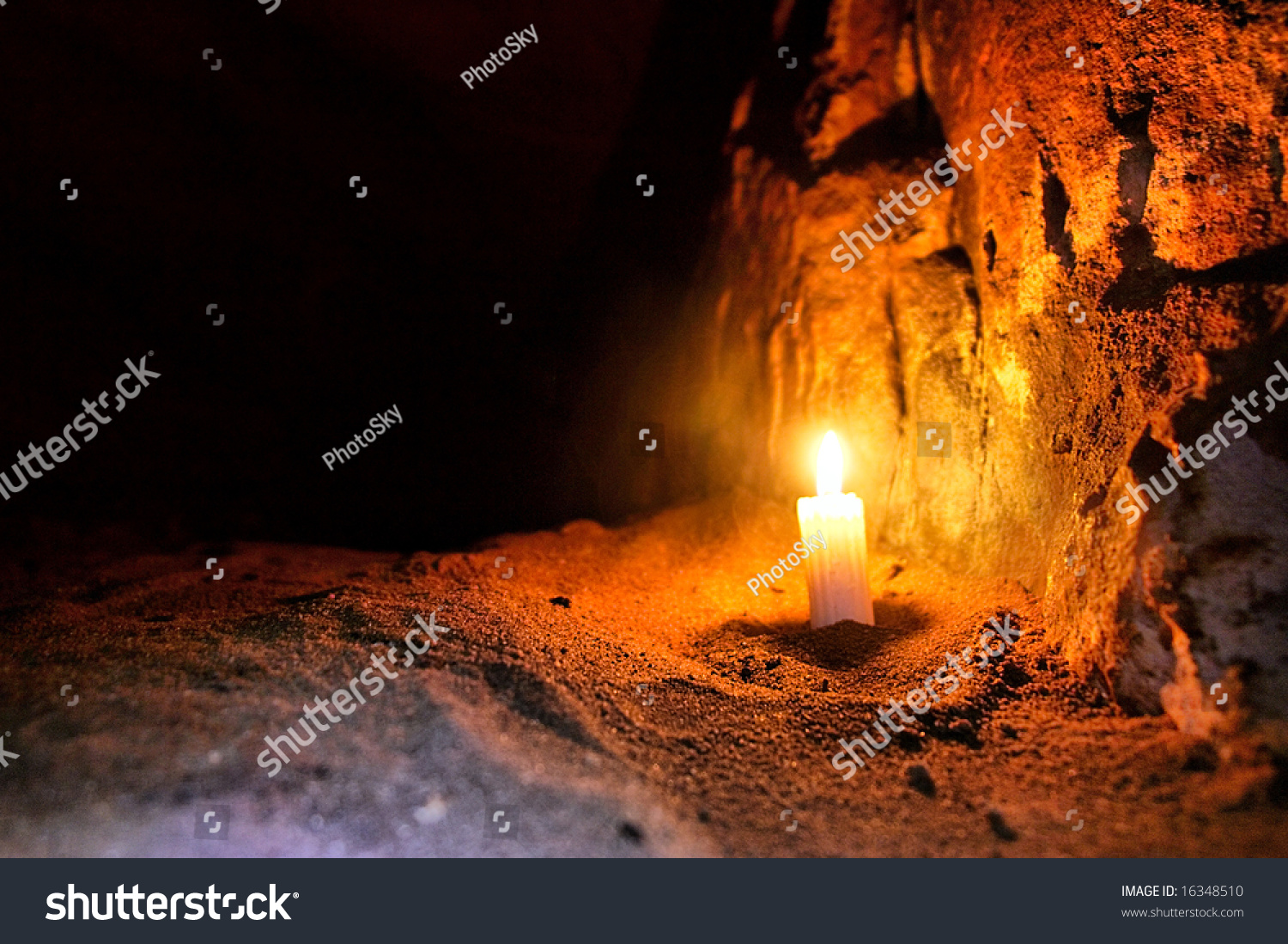 Candle In Dark Cave. Shot In Table Mountain Nature Park, Near Cape ...