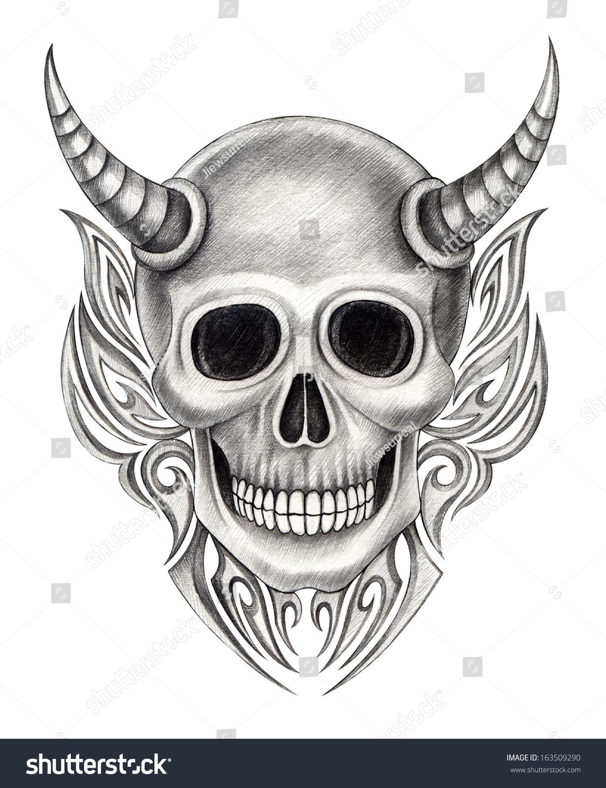 Devil Skull Tattoo Hand Drawing On Paper