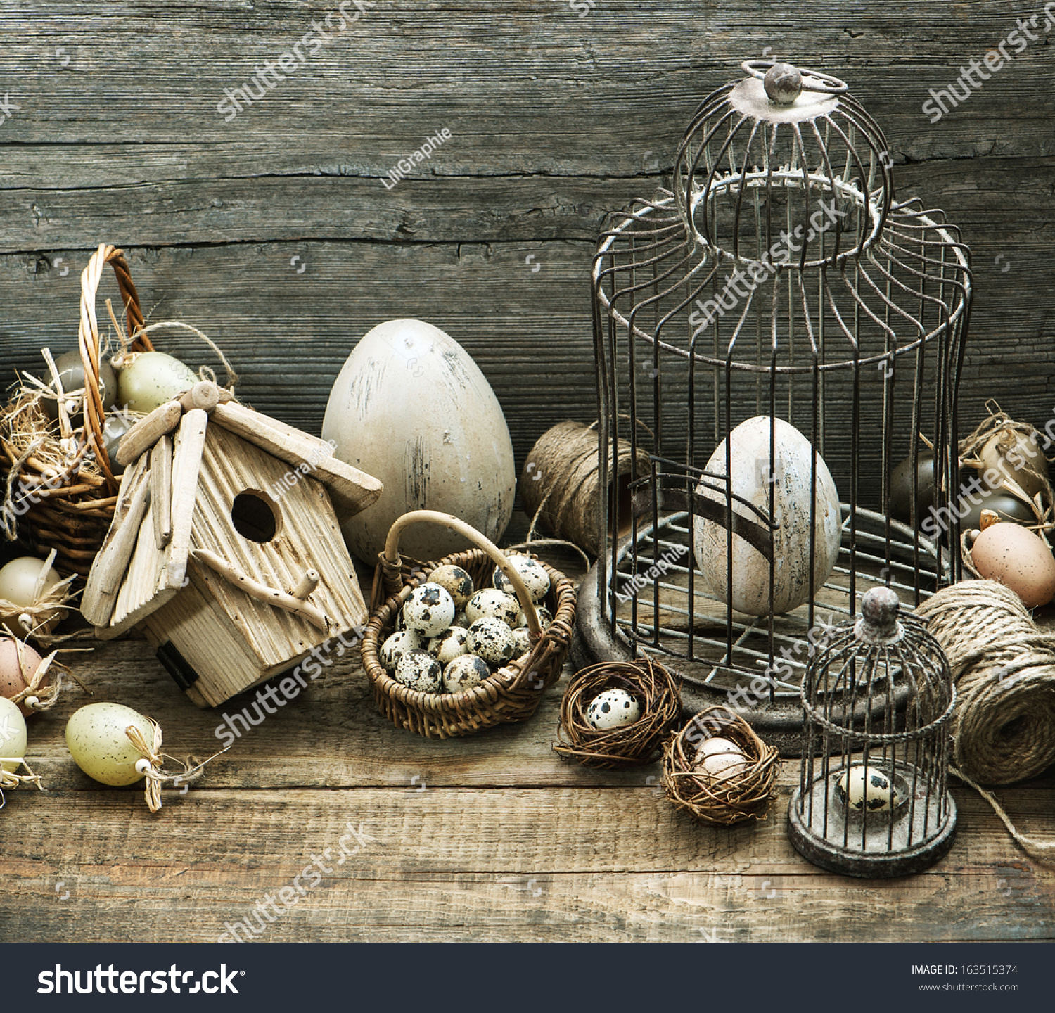 Vintage Easter Decoration With Eggs, Birdhouse And Birdcage. Nostalgic  Country Style Home Interior