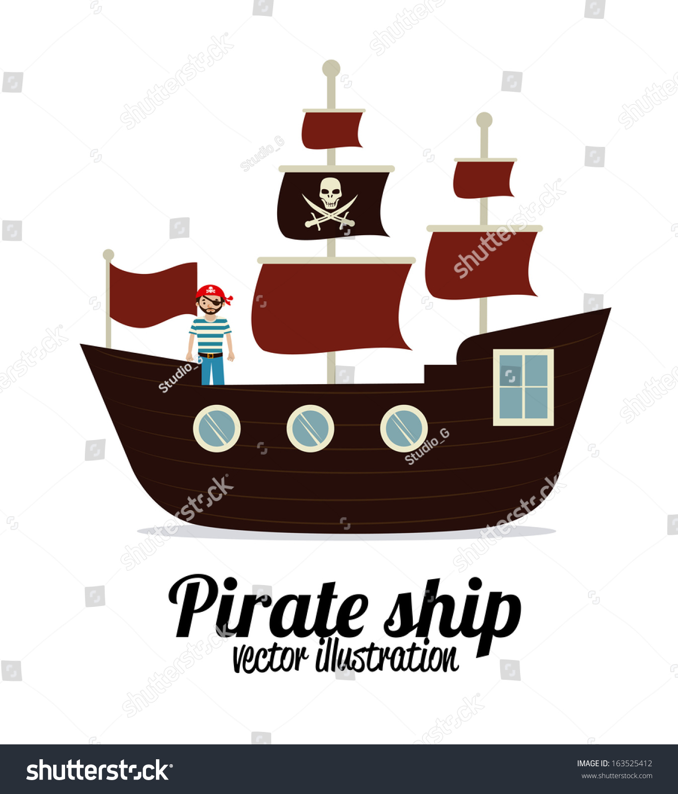 Pirate Design Over White Background Vector Stock Vector Royalty