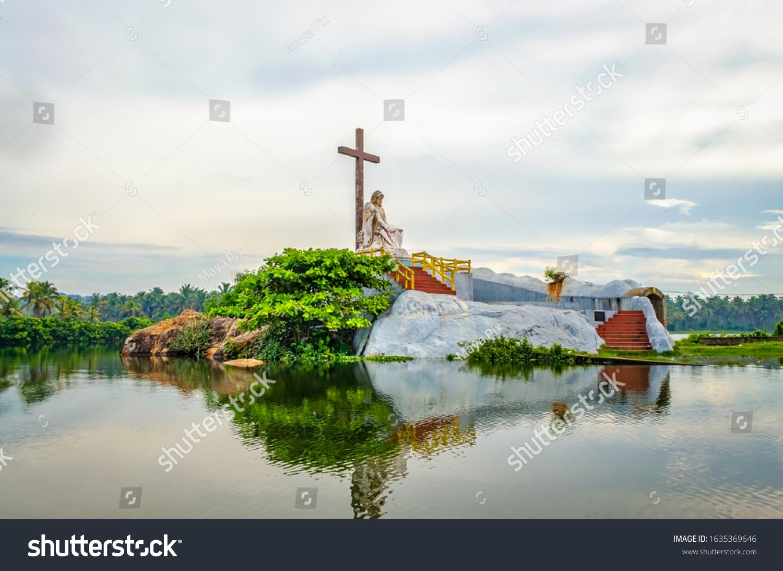 Saint Mary Statue Island in Poovar Lake, Thiruvananthapuram, Kerala, India.