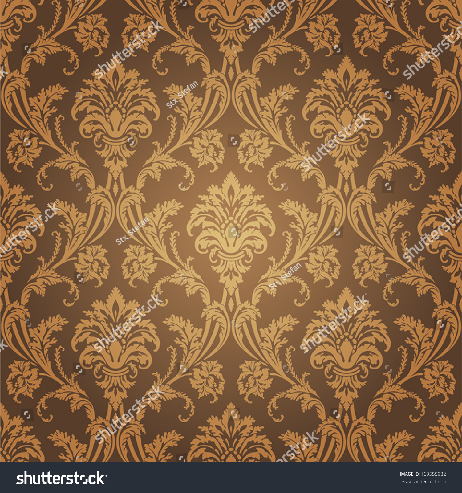 Golden Design Wallpaper : Golden floral wallpaper old style retro stock vector