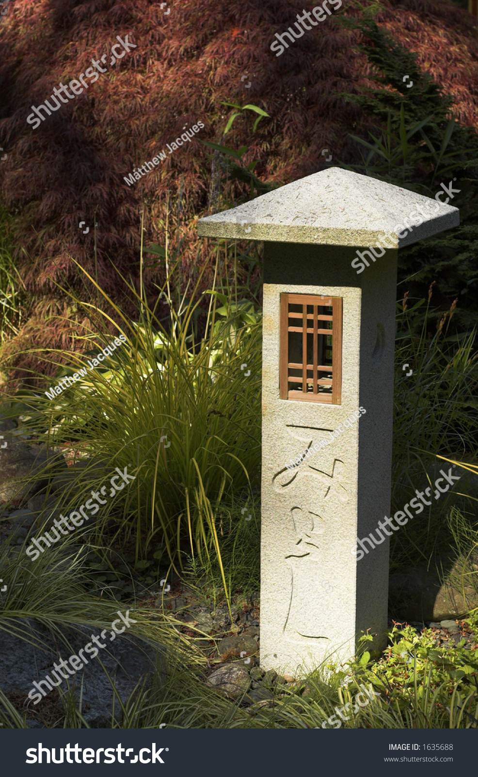 Carved Stone Lamp Post Zen Garden Stock Photo 1635688 - Shutterstock for Stone Lamp Post  545xkb