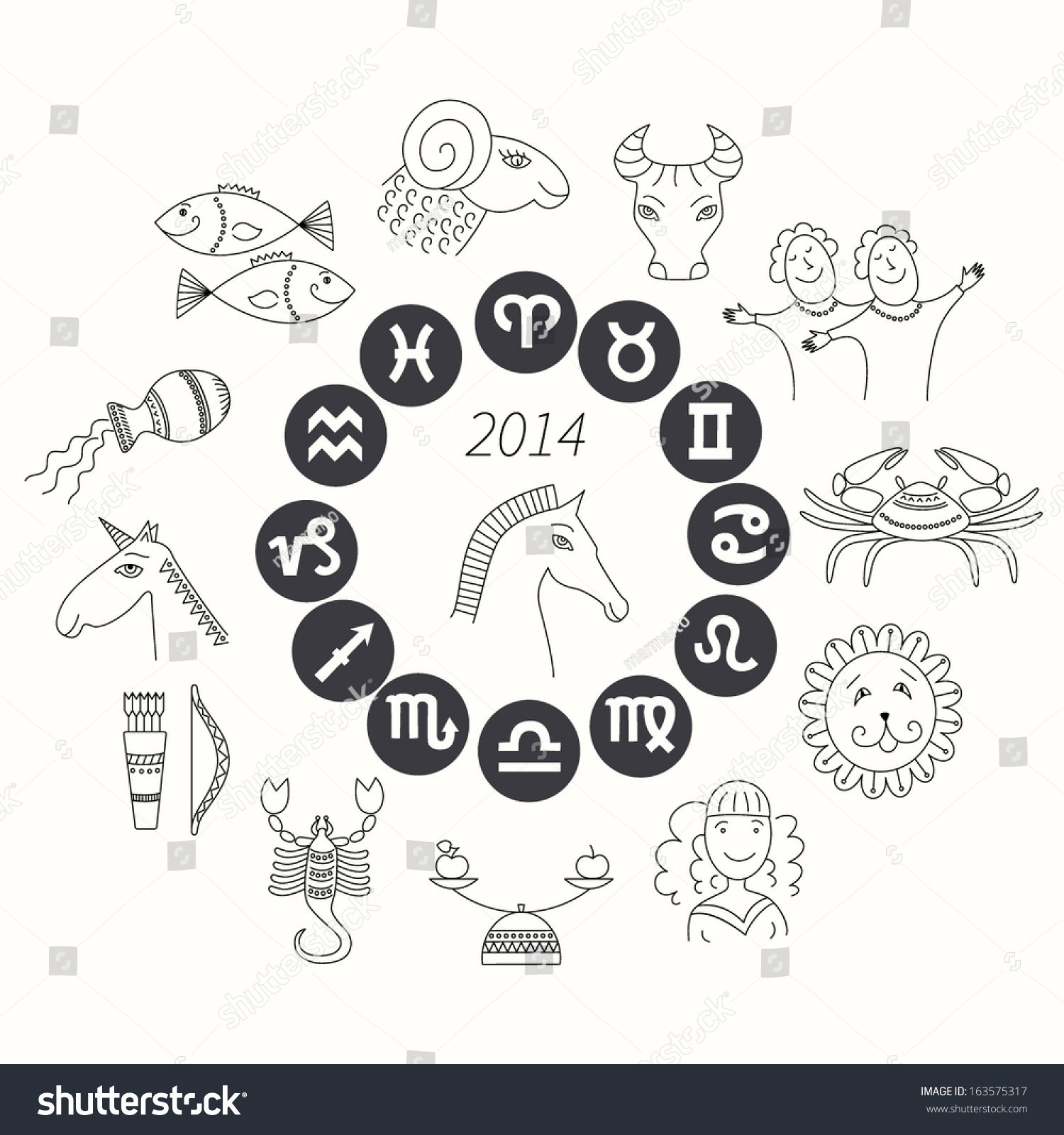 Set horoscope symbols zodiac signs on stock vector 163575317 set of horoscope symbols zodiac signs on white background horoscope for 2014 buycottarizona