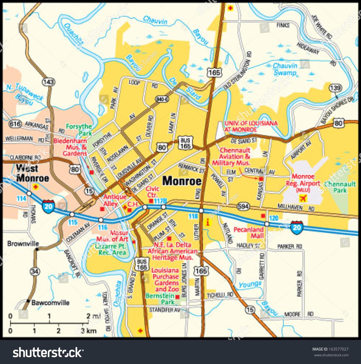 Monroe Louisiana Area Map Stock Vector 163577027 Shutterstock