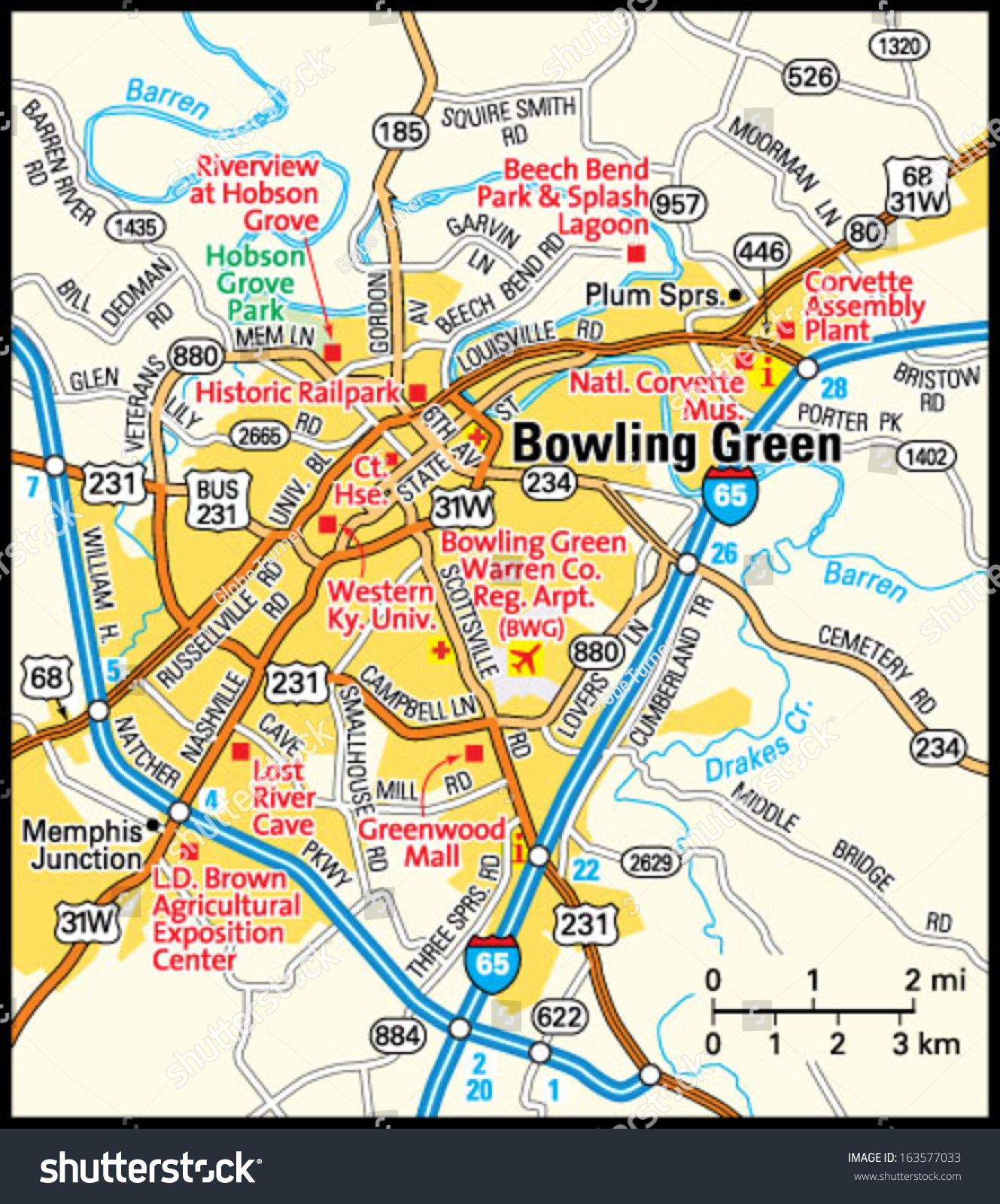 map of bowling green kentucky Bowling Green Kentucky Area Map Stock Vector Royalty Free 163577033 map of bowling green kentucky