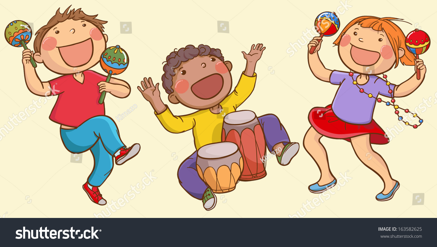 illustration kids playing ethnic musical instruments stock vector
